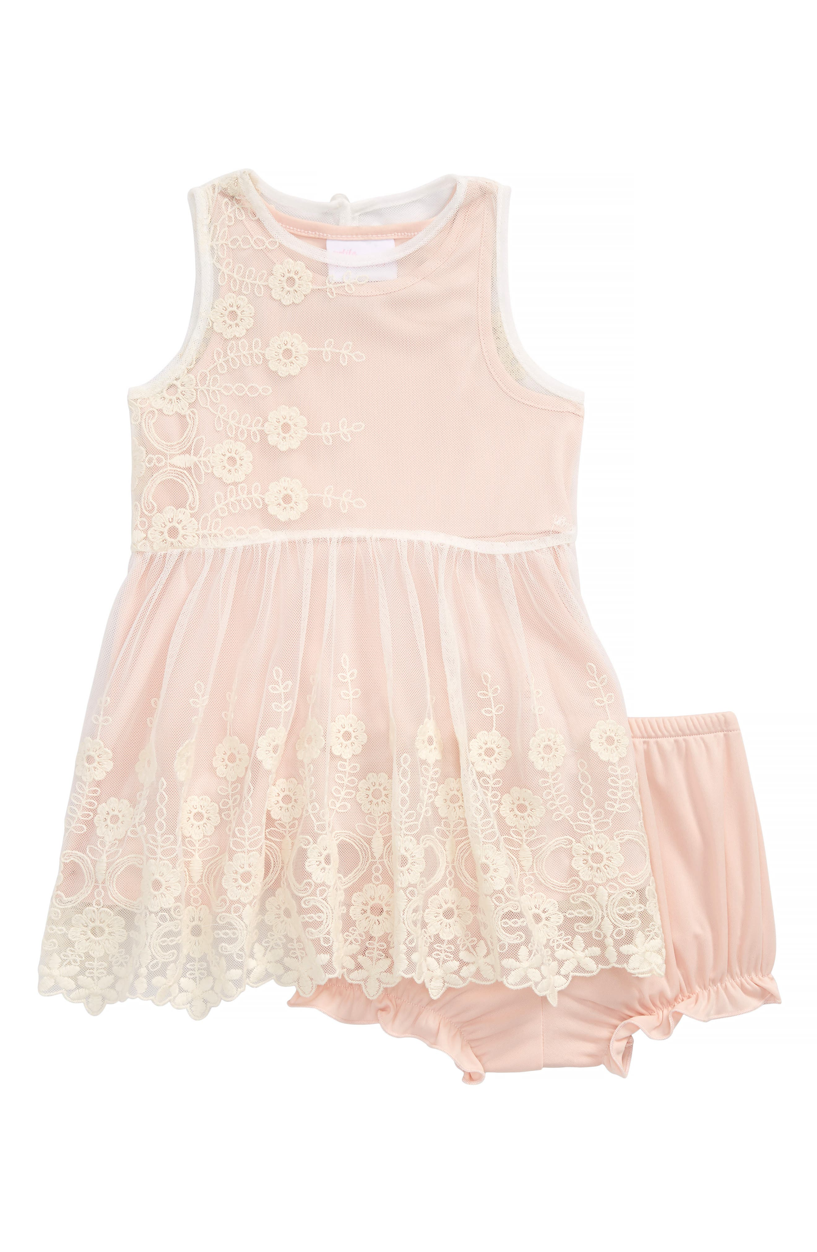 Flower Embroidered Sleeveless Dress,                             Main thumbnail 1, color,                             Ivory / Pink