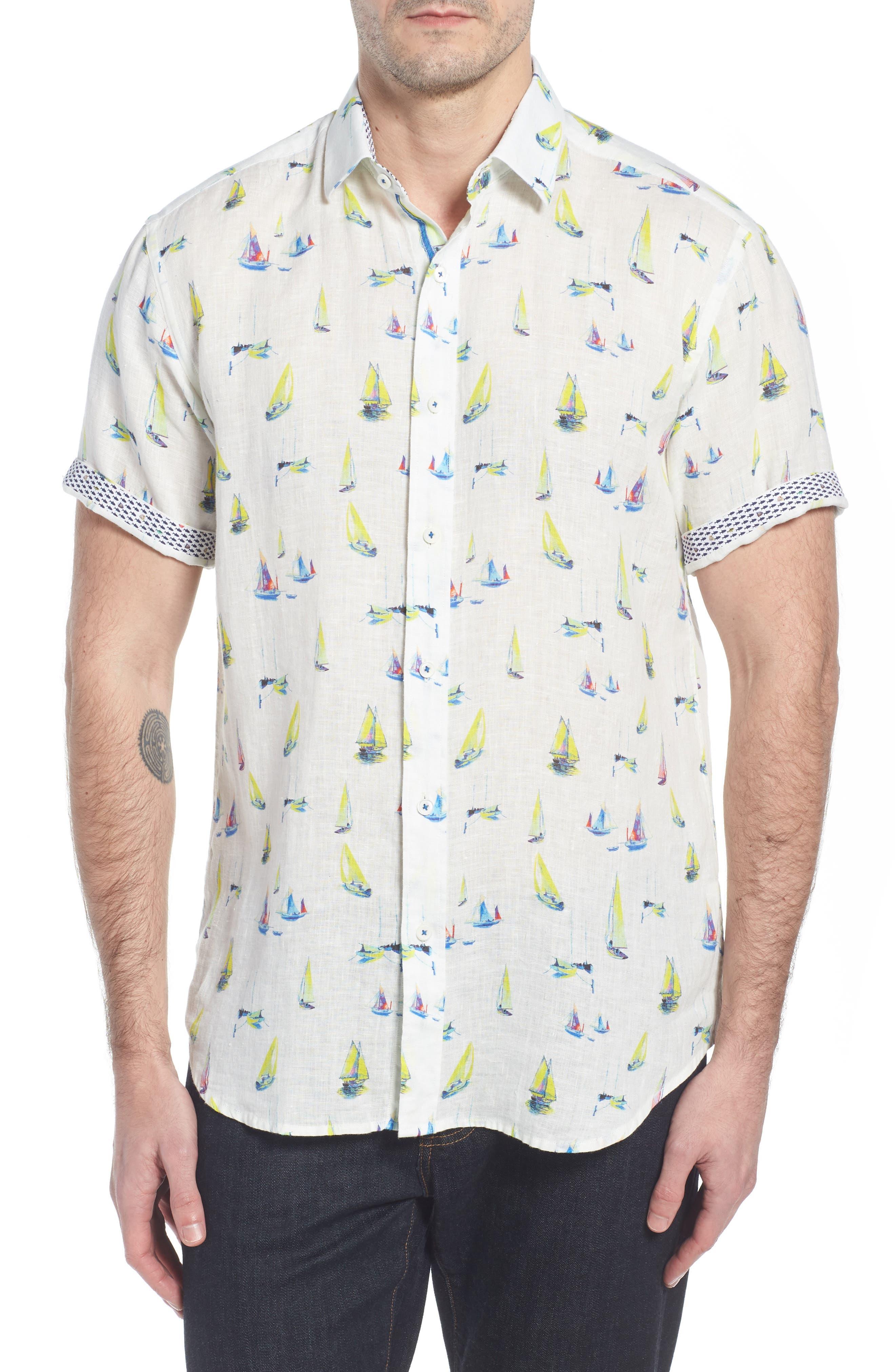Shaped Fit Sailboat Linen Sport Shirt,                             Alternate thumbnail 4, color,                             Chalk