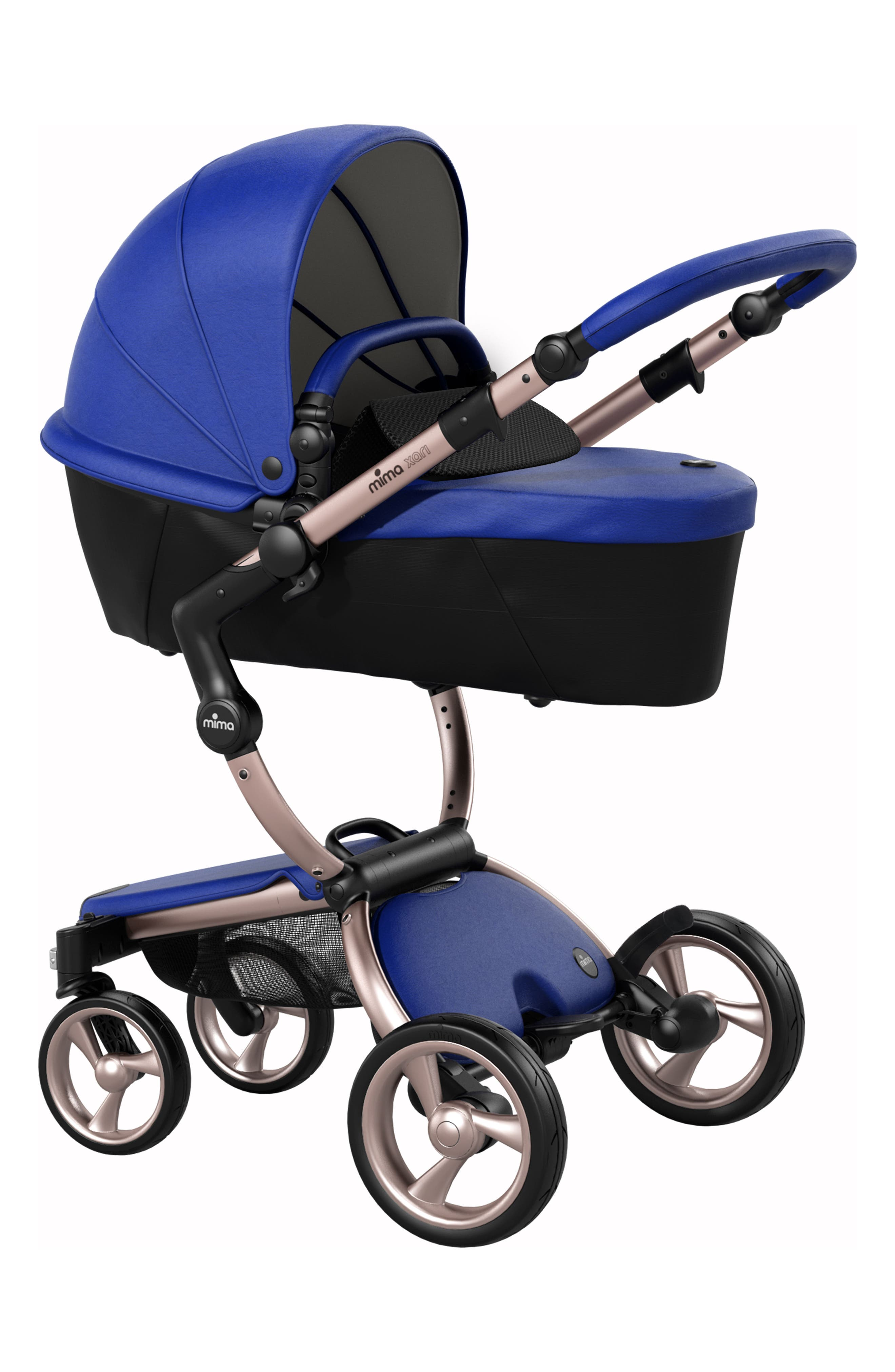 Xari Rose Gold Chassis Stroller with Reversible Reclining Seat & Carrycot,                             Alternate thumbnail 5, color,                             Royal Blue/ Black