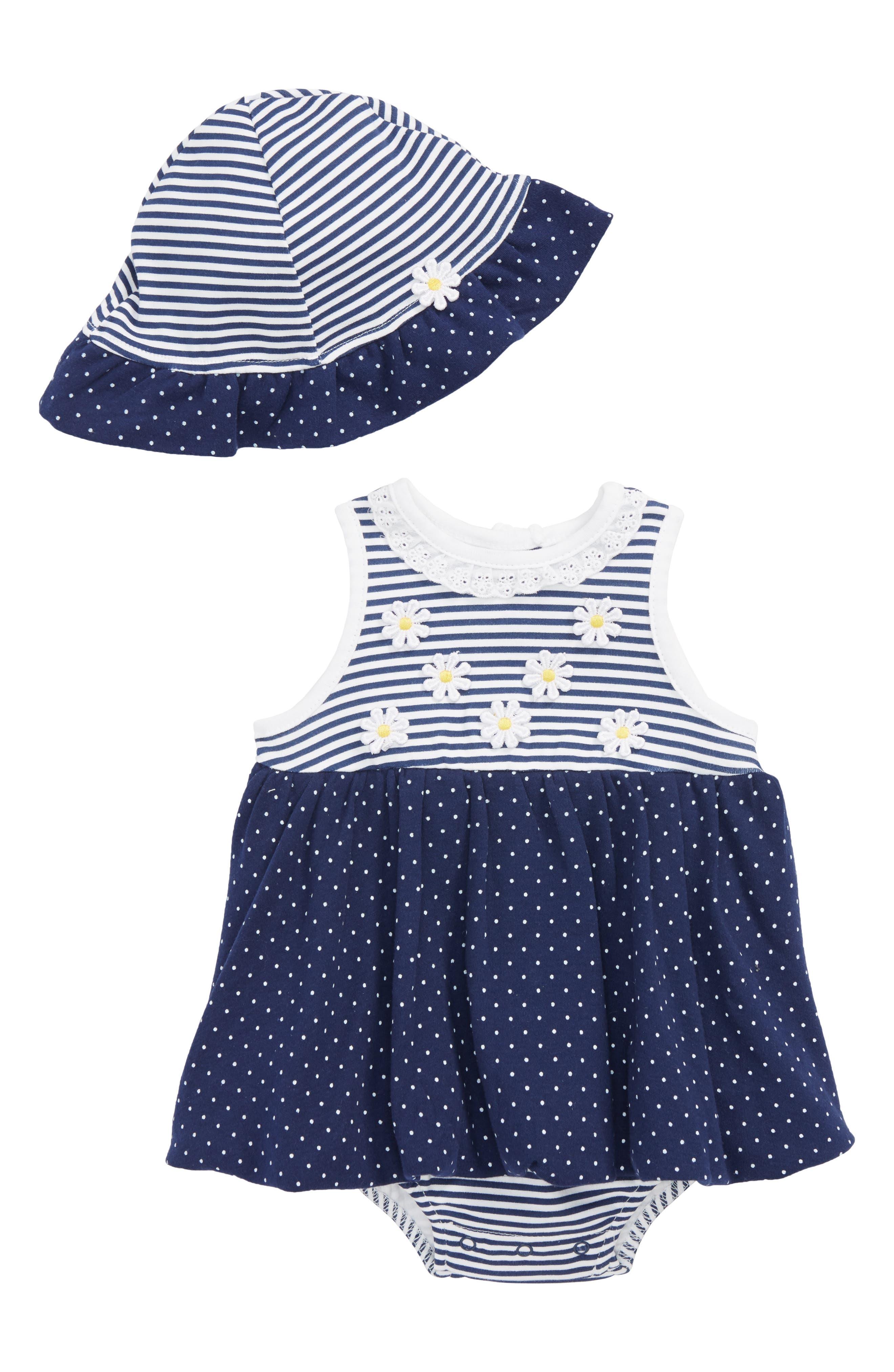 Daisy Dots Popover Bodysuit & Sun Hat Set,                             Main thumbnail 1, color,                             Navy
