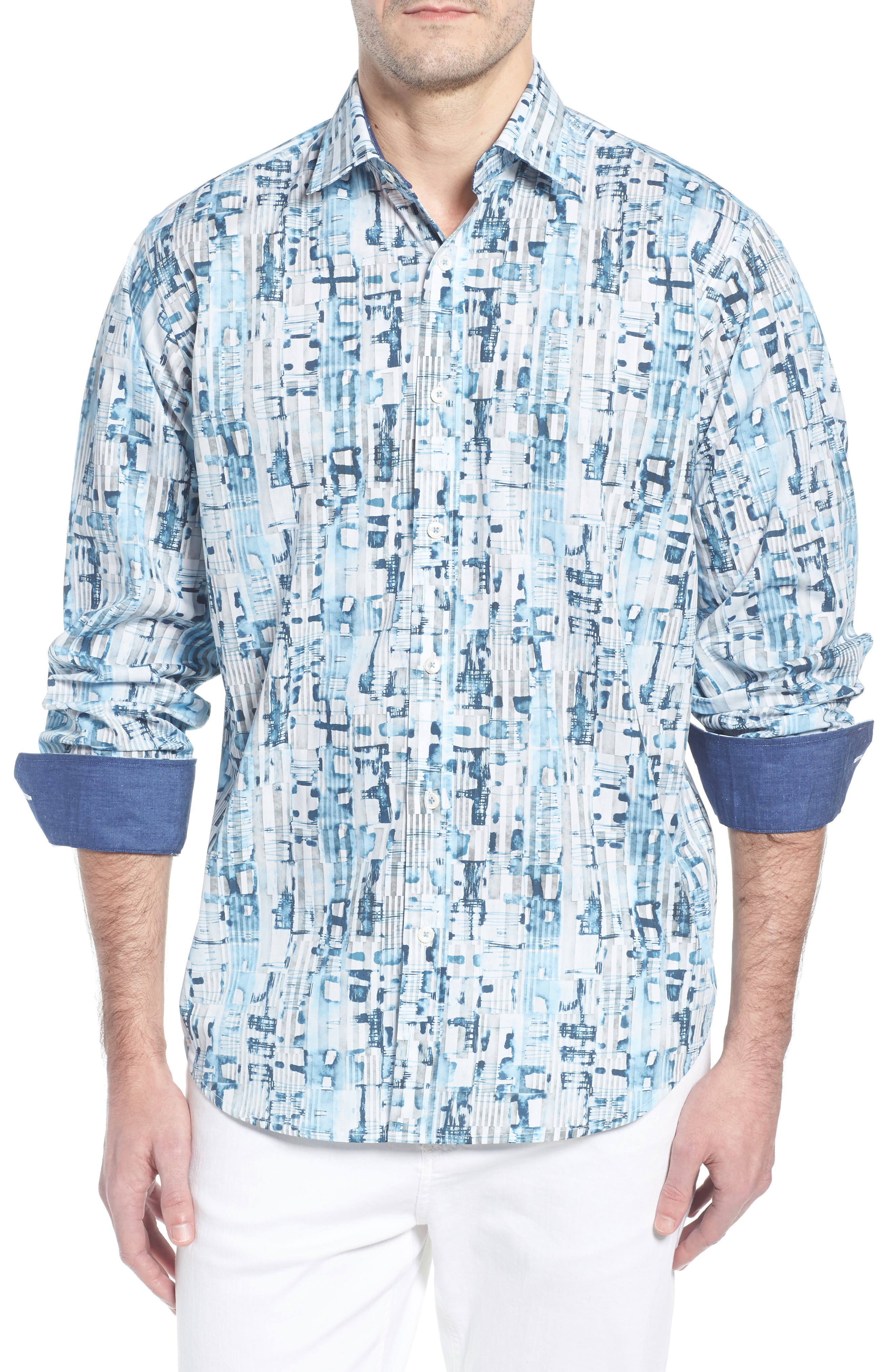 Classic Fit Abstract Stripe Print Sport Shirt,                             Main thumbnail 1, color,                             Aqua