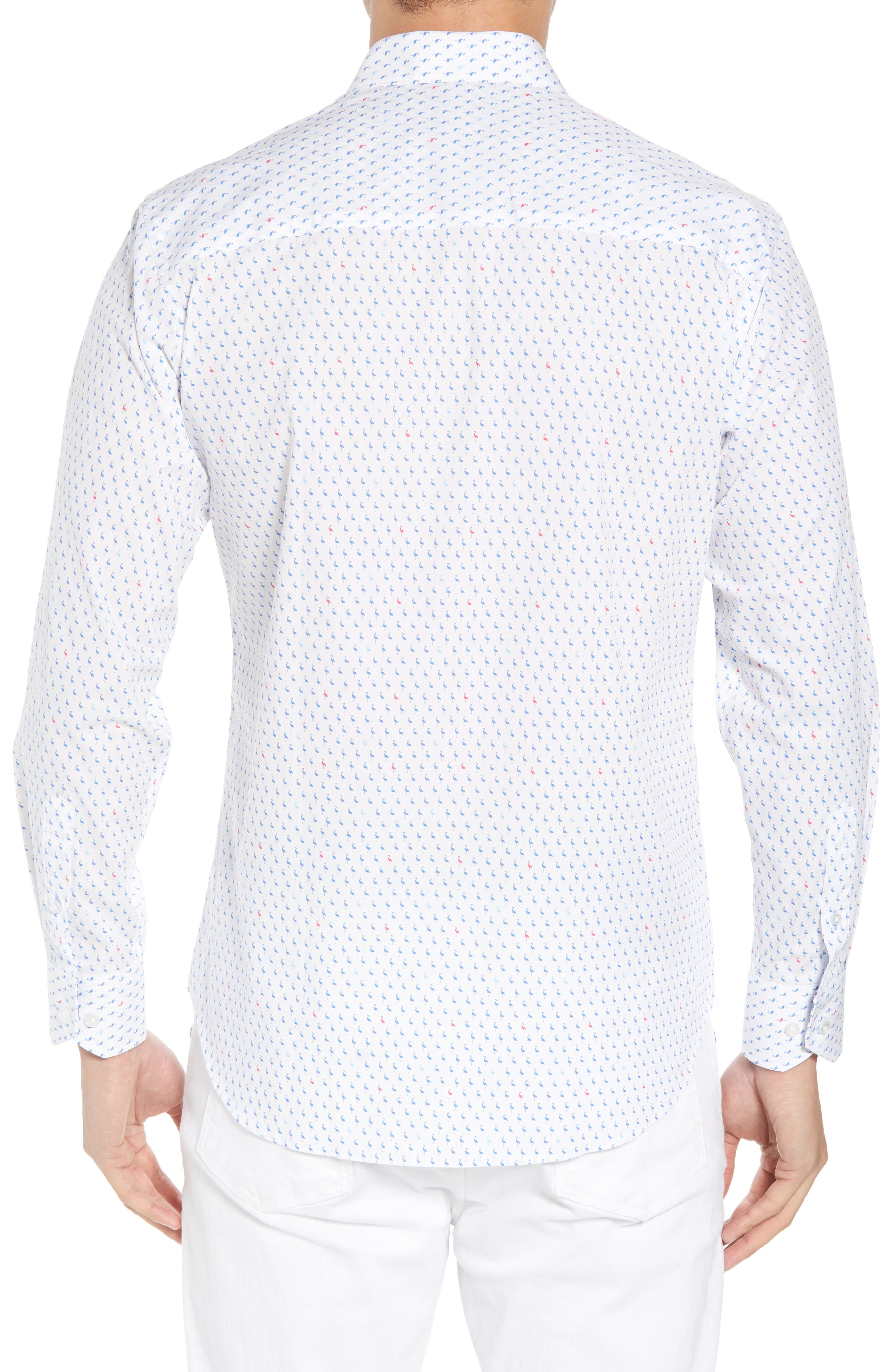Auden Regular Fit Print Sport Shirt,                             Alternate thumbnail 3, color,                             Peri Blue
