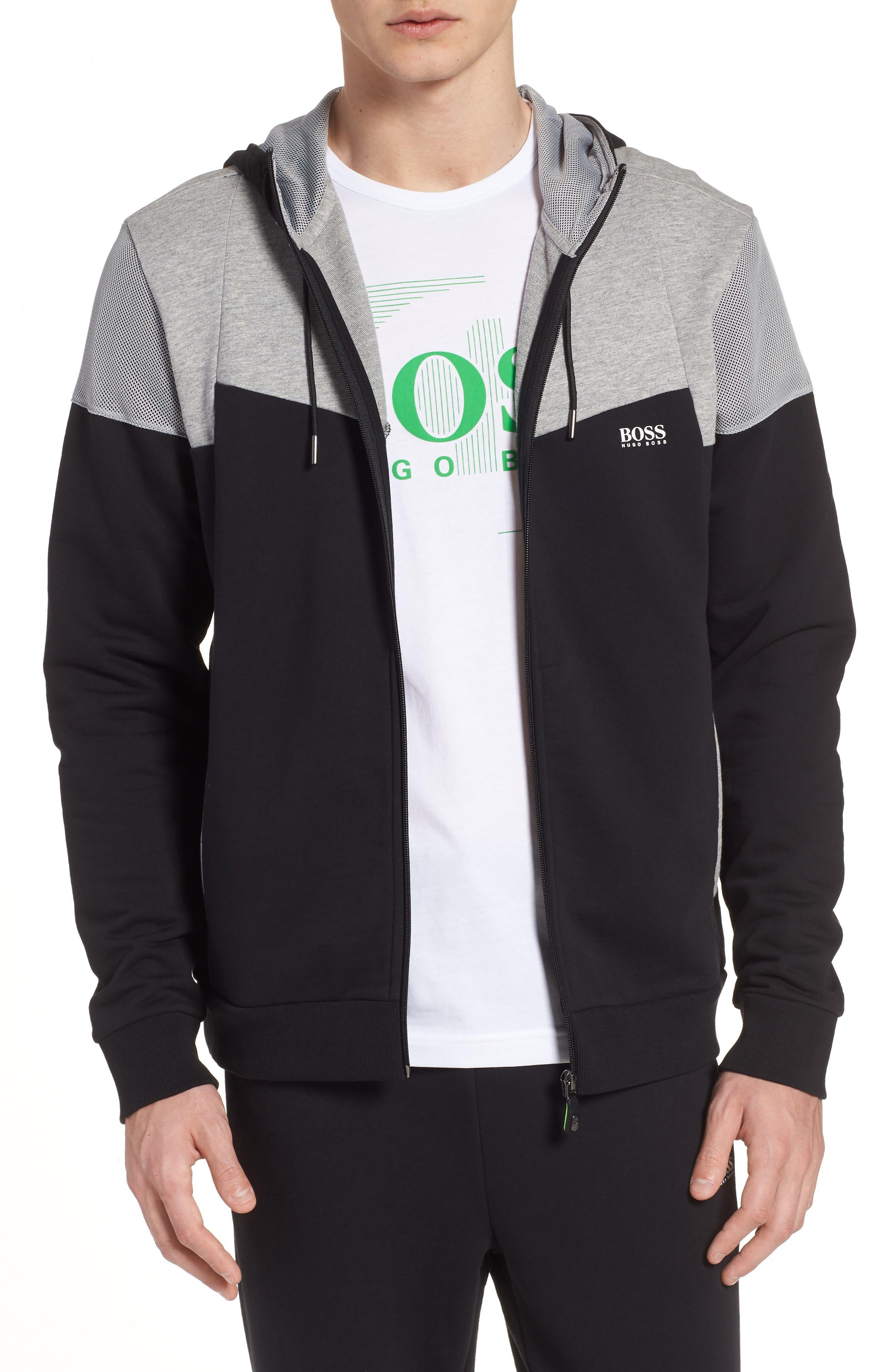 Regular Fit Hooded Fleece Jacket,                         Main,                         color, Black