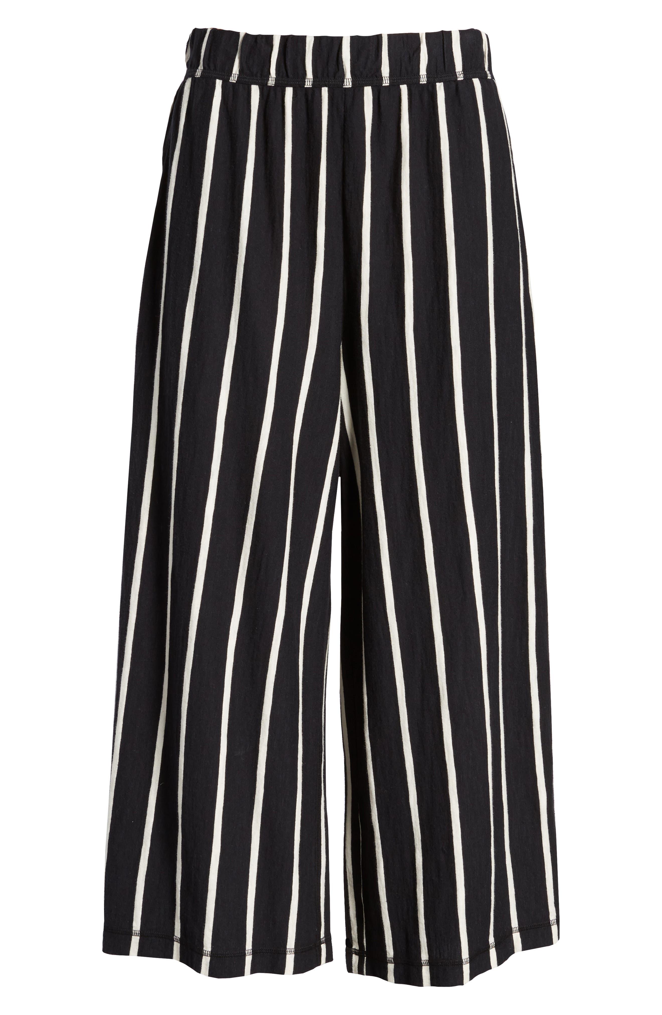 Stripe Organic Cotton Capri Pants,                             Alternate thumbnail 7, color,                             Black/ White