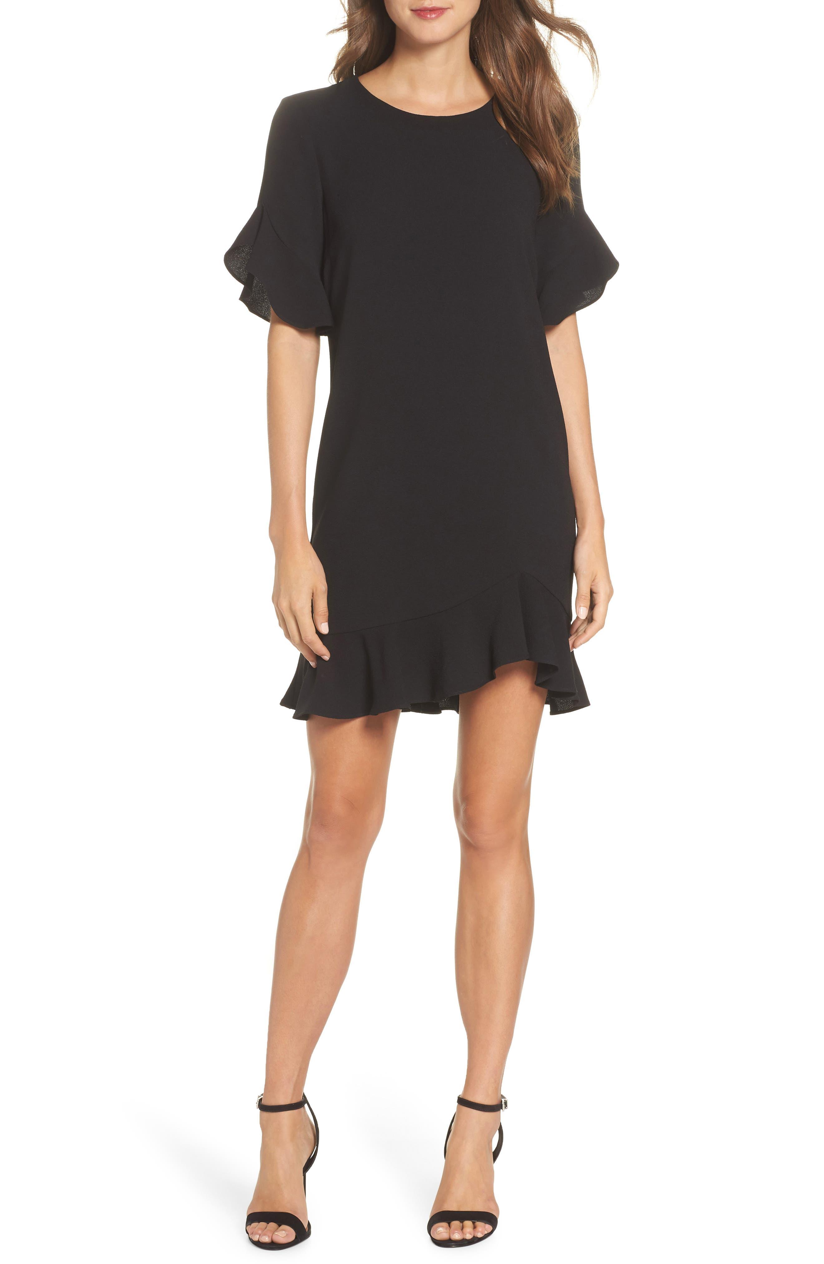 CHARLES HENRY RUFFLE DETAIL SHIFT DRESS