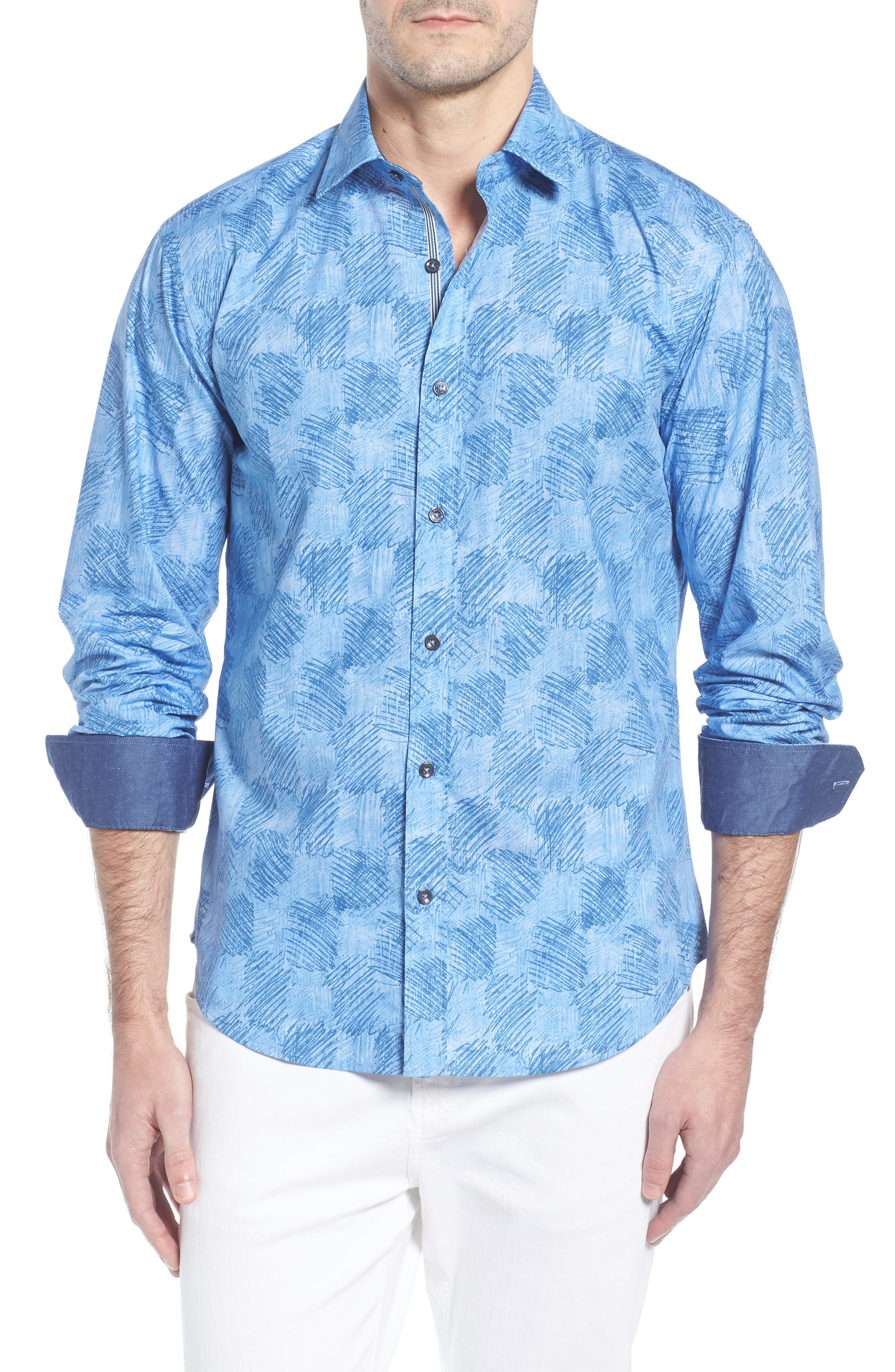 Shaped Fit Abstract Check Sport Shirt,                         Main,                         color, Air Blue