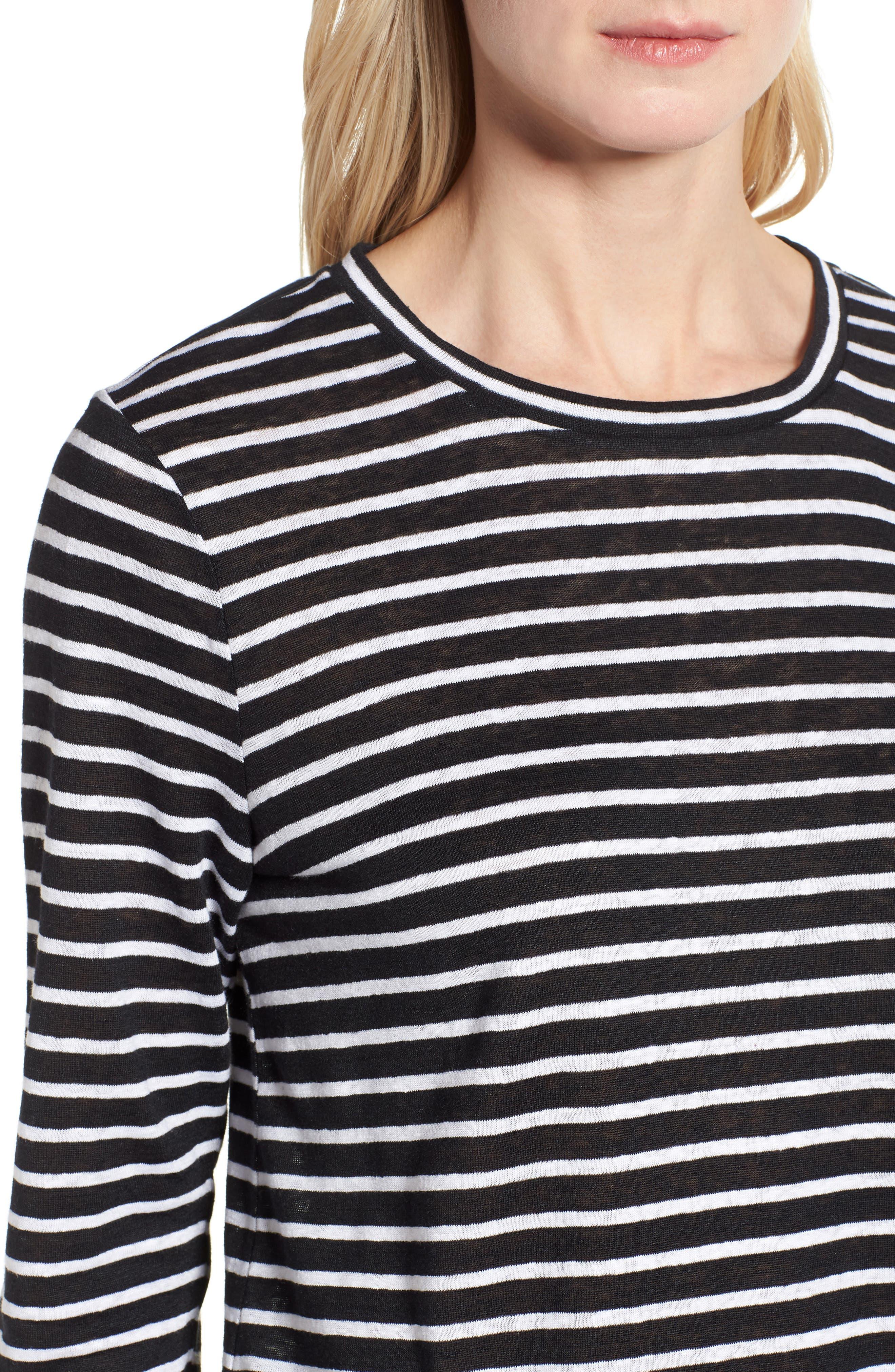 Stripe Organic Linen Top,                             Alternate thumbnail 4, color,                             Black/ White
