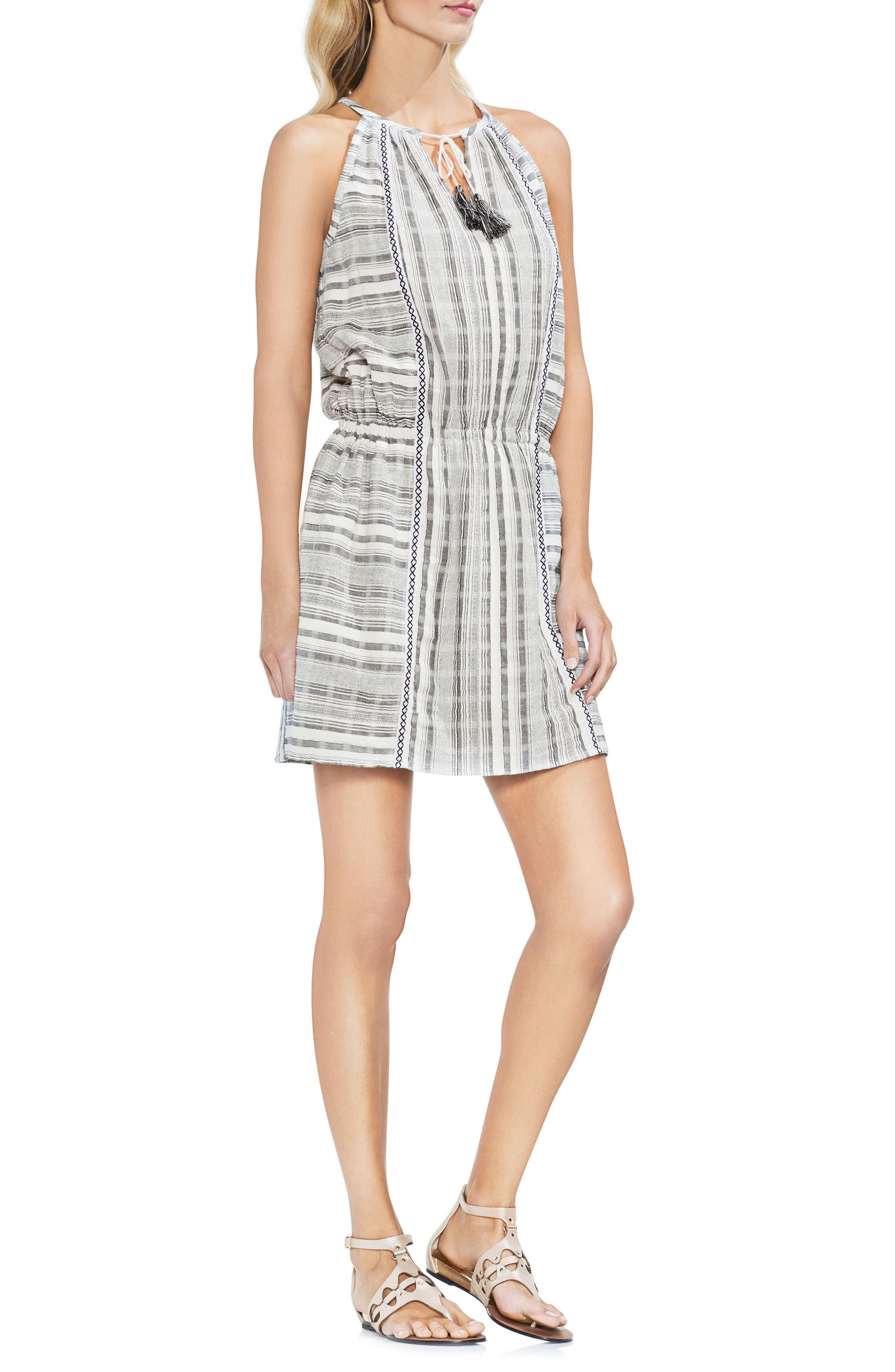 Baja Striped Minidress,                         Main,                         color, New Ivory