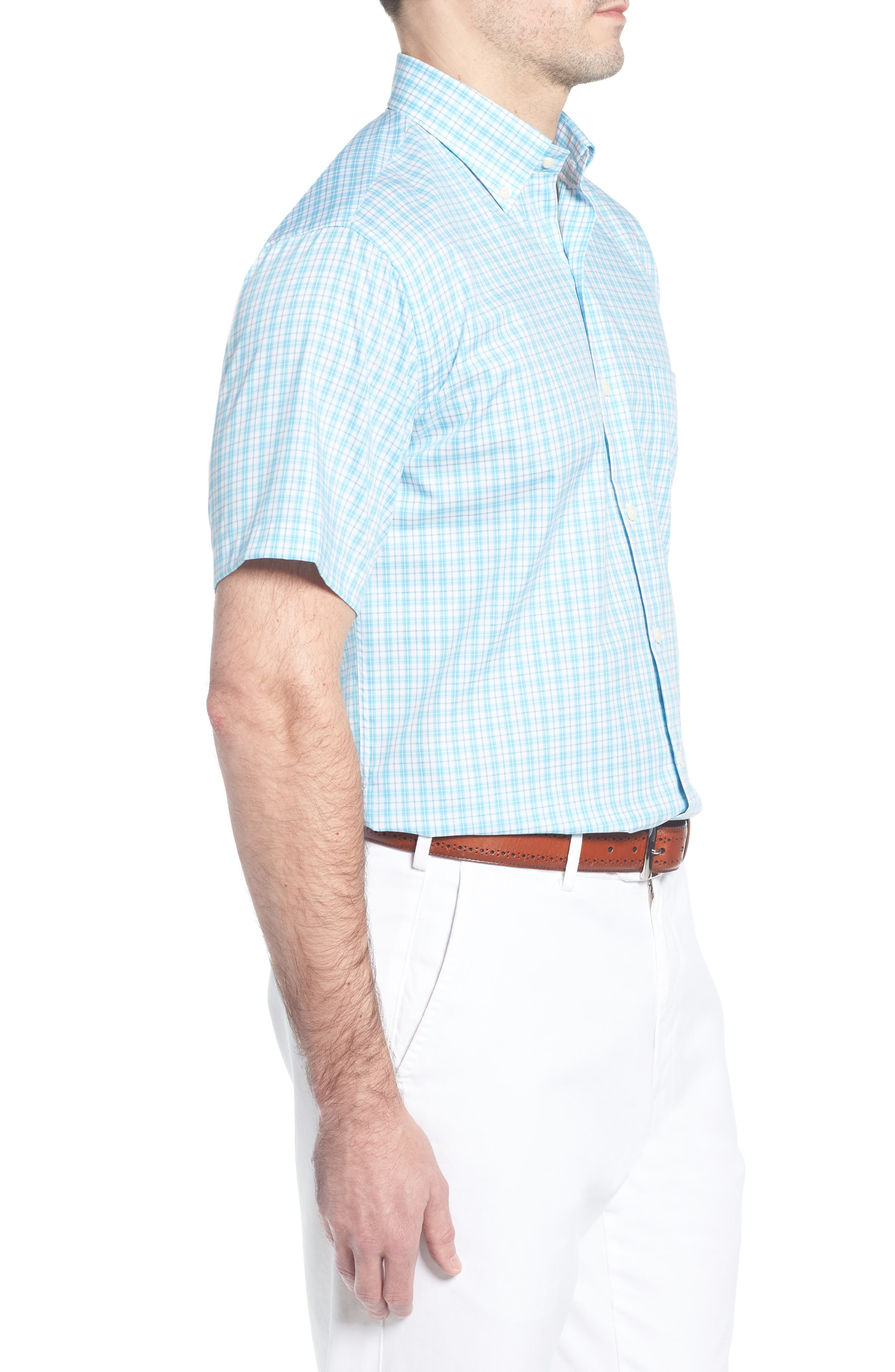 Crown Ease Eventide Check Sport Shirt,                             Alternate thumbnail 4, color,                             Blue Fish