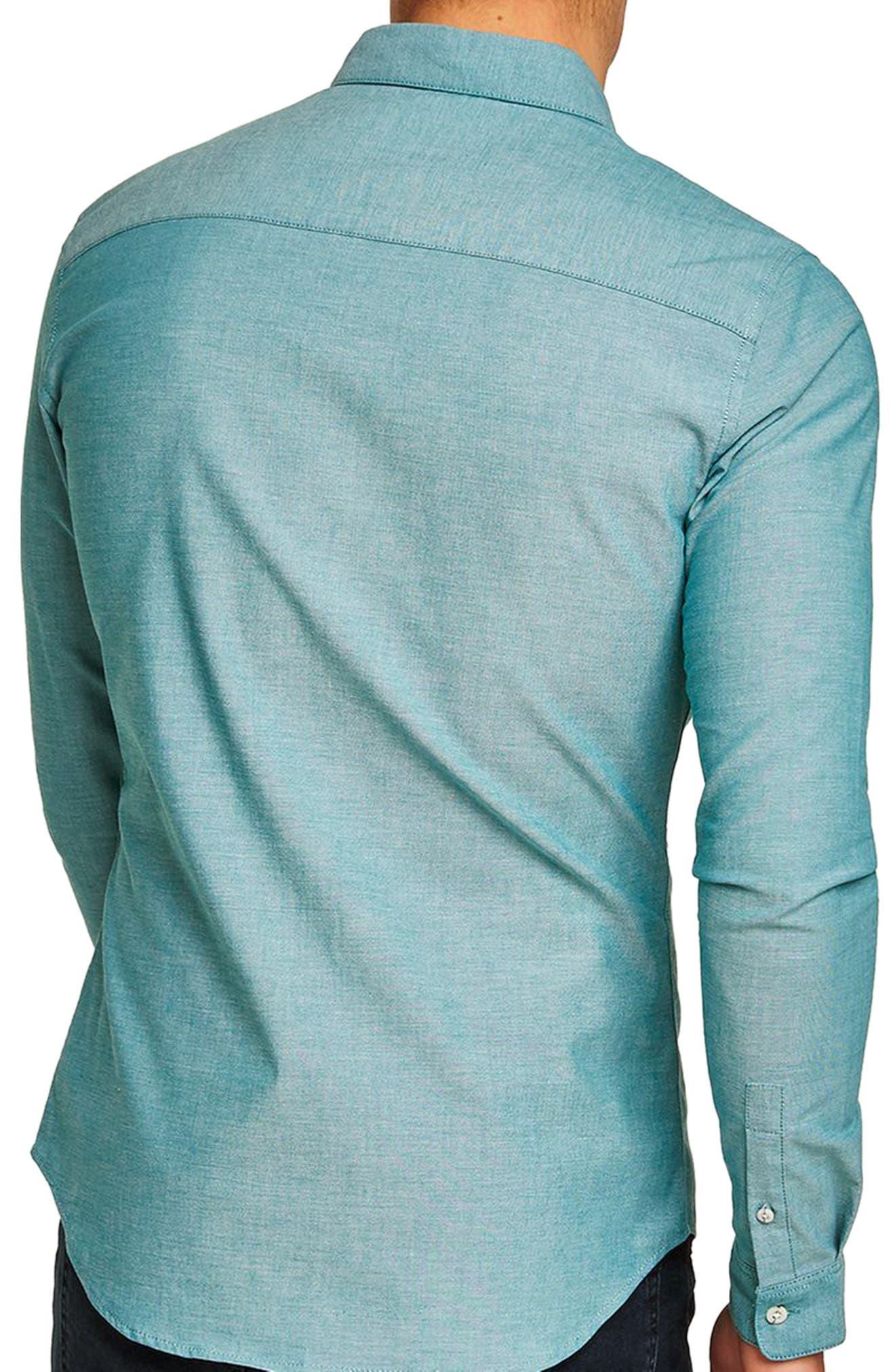Muscle Fit Oxford Shirt,                             Alternate thumbnail 3, color,                             Blue