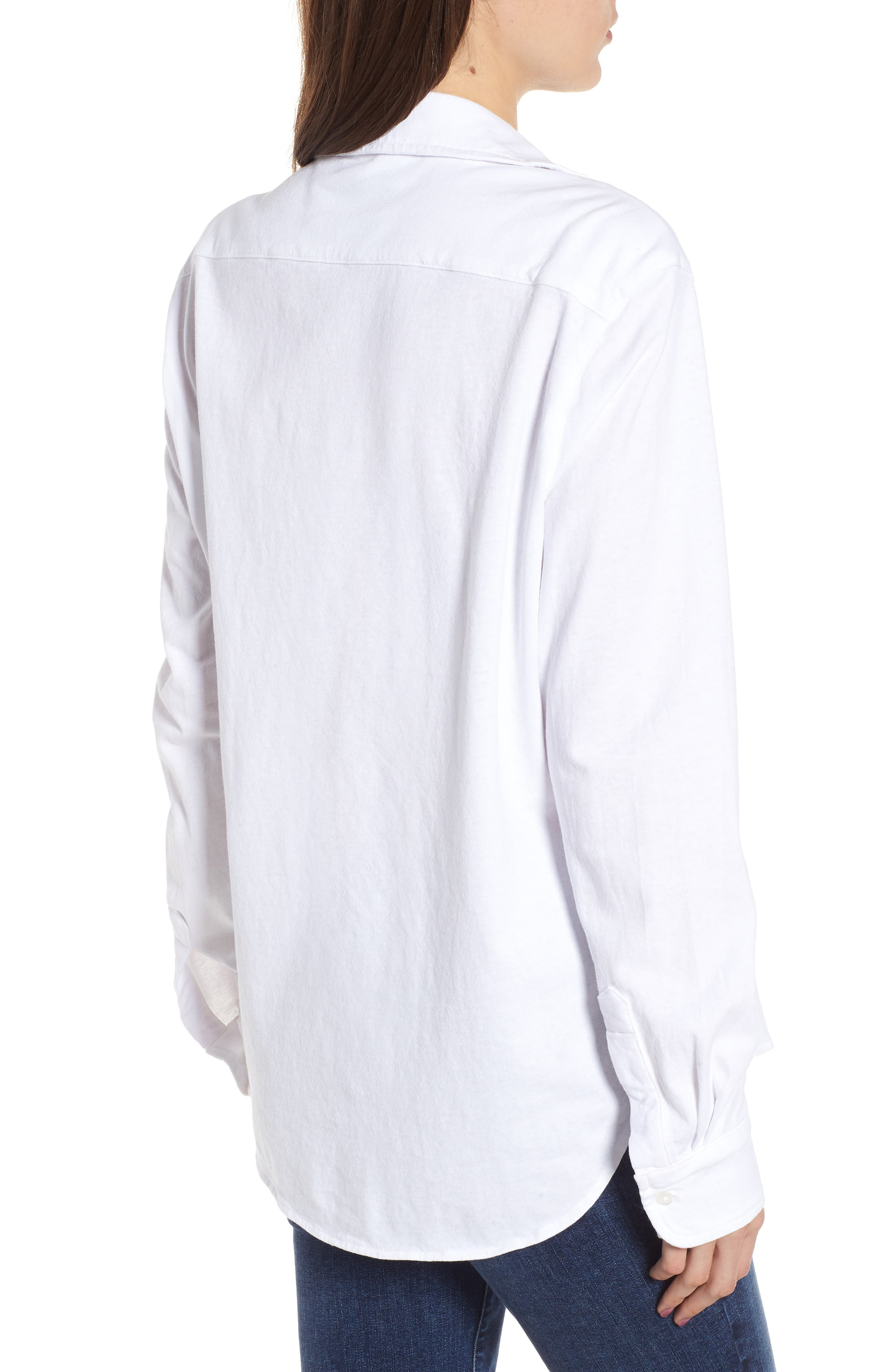Button Front Jersey Shirt,                             Alternate thumbnail 2, color,                             Whiteout