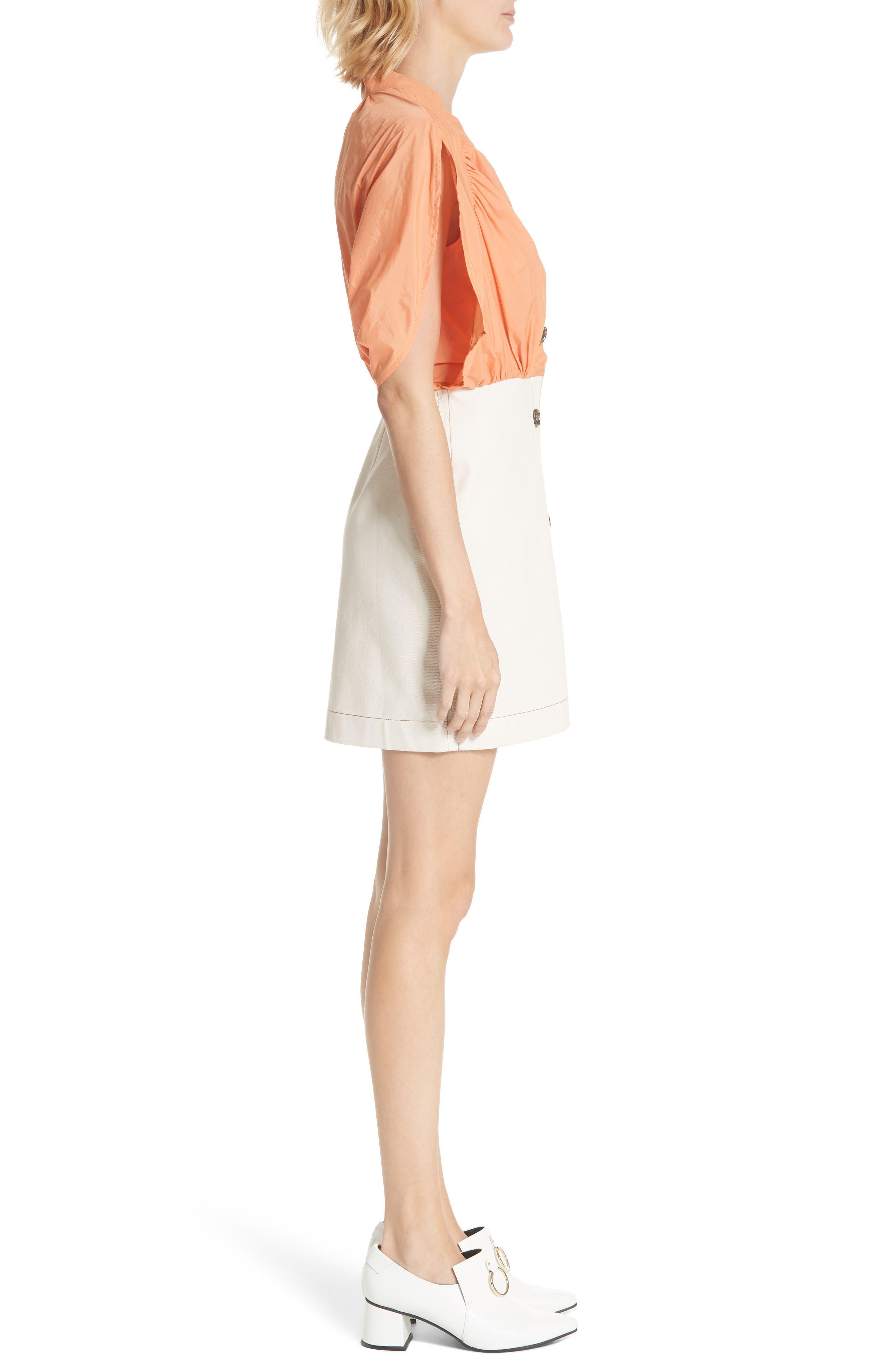Yana Bicolor Dress,                             Alternate thumbnail 3, color,                             Cotton Orange/ Denim Ecru