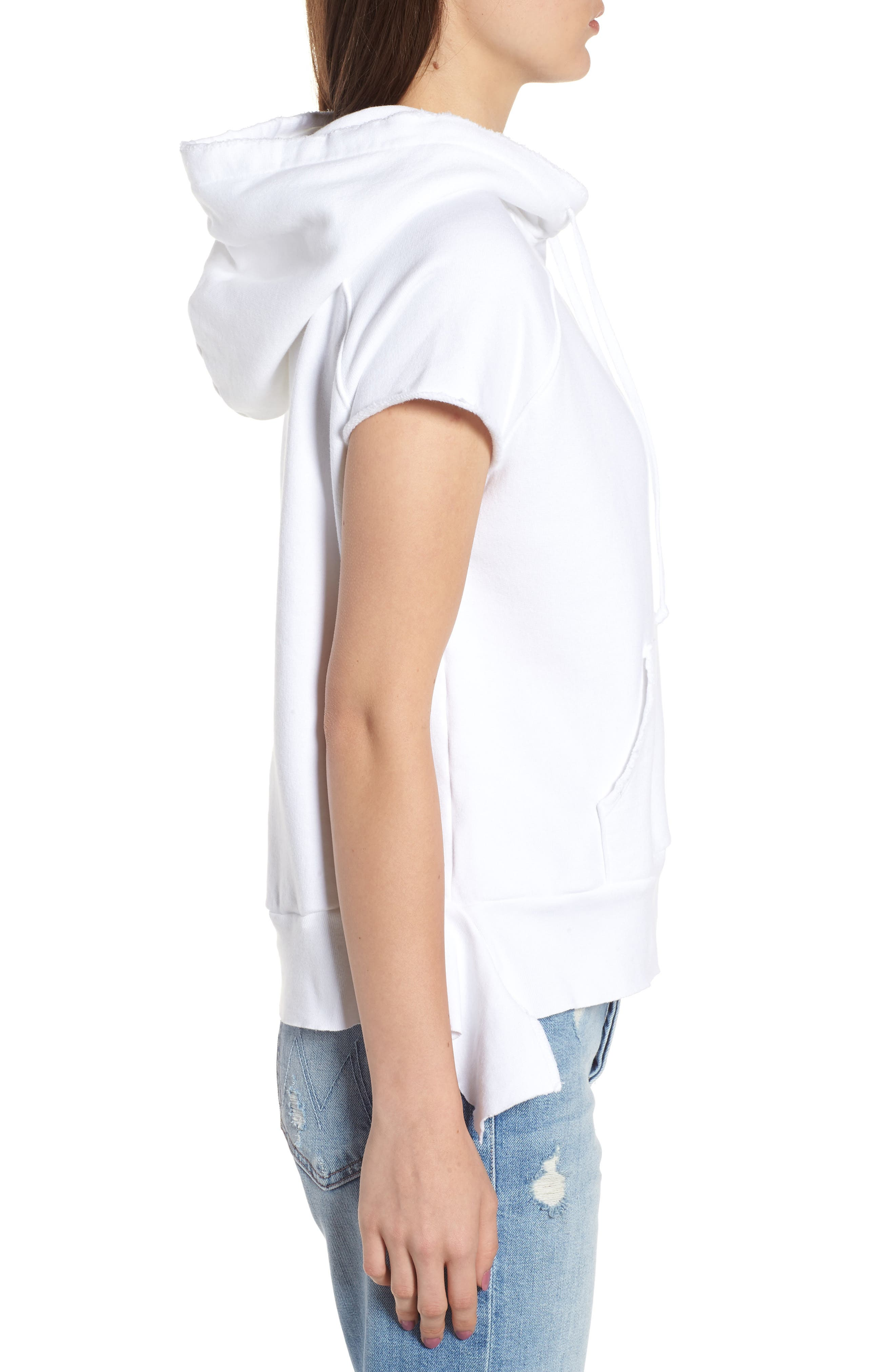 Short Sleeve Pullover Hoodie,                             Alternate thumbnail 3, color,                             Whiteout