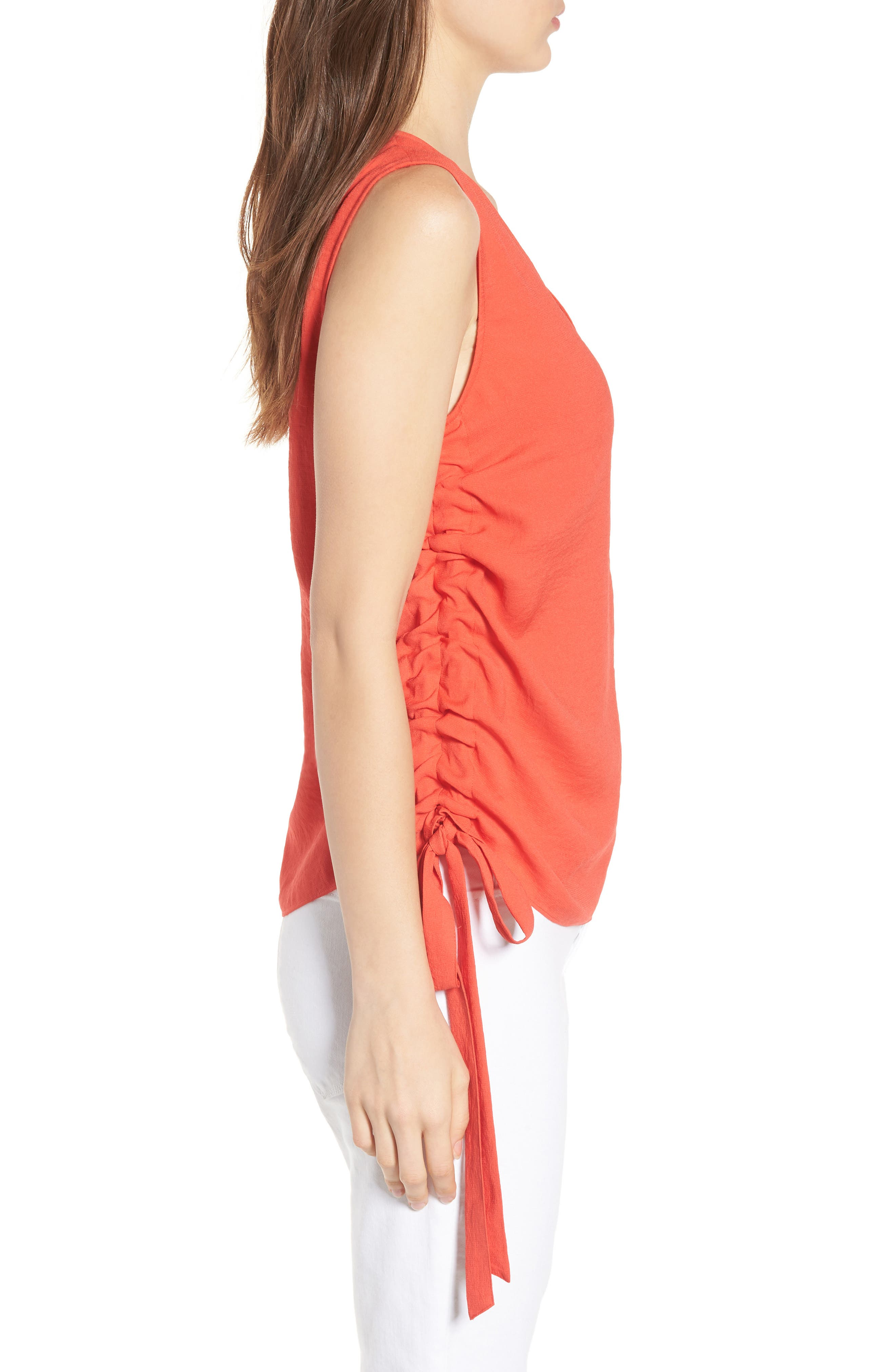 Side Cinch Tank,                             Alternate thumbnail 3, color,                             Red Poppy