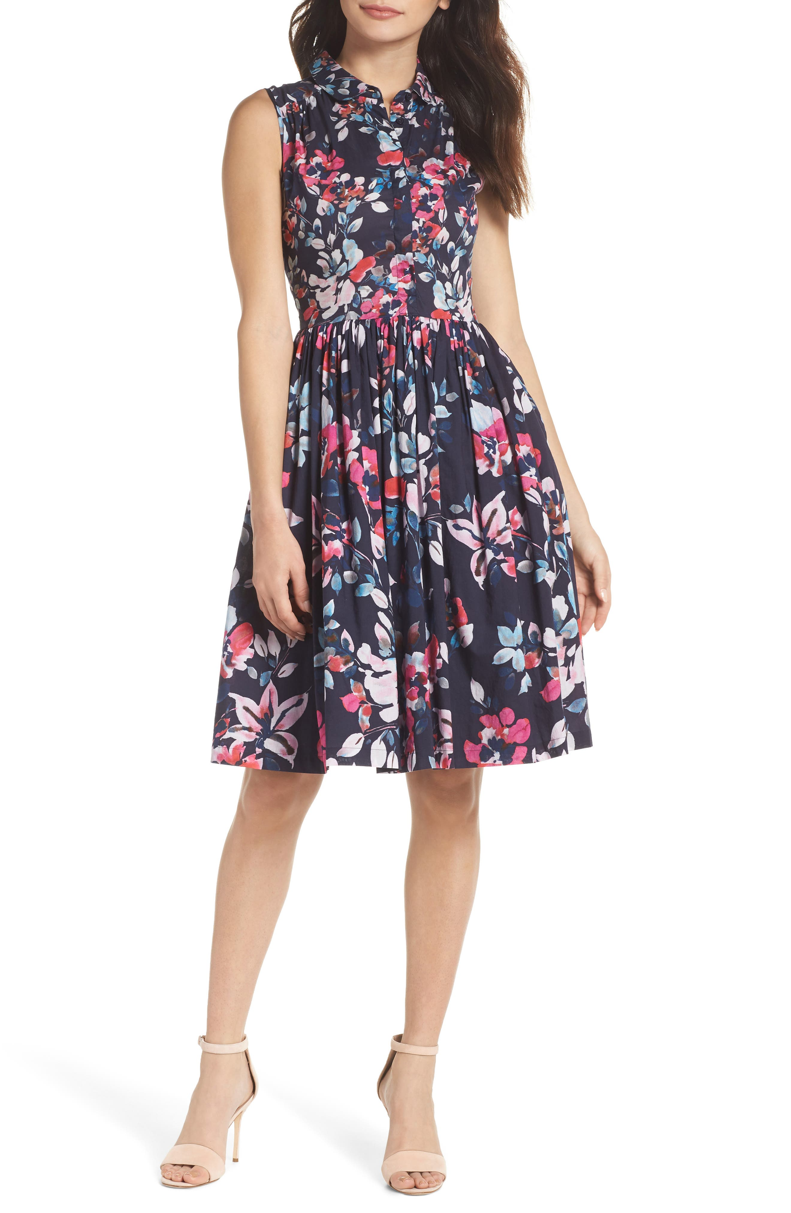French Connection Linosa Cotton Voile Fit & Flare Dress