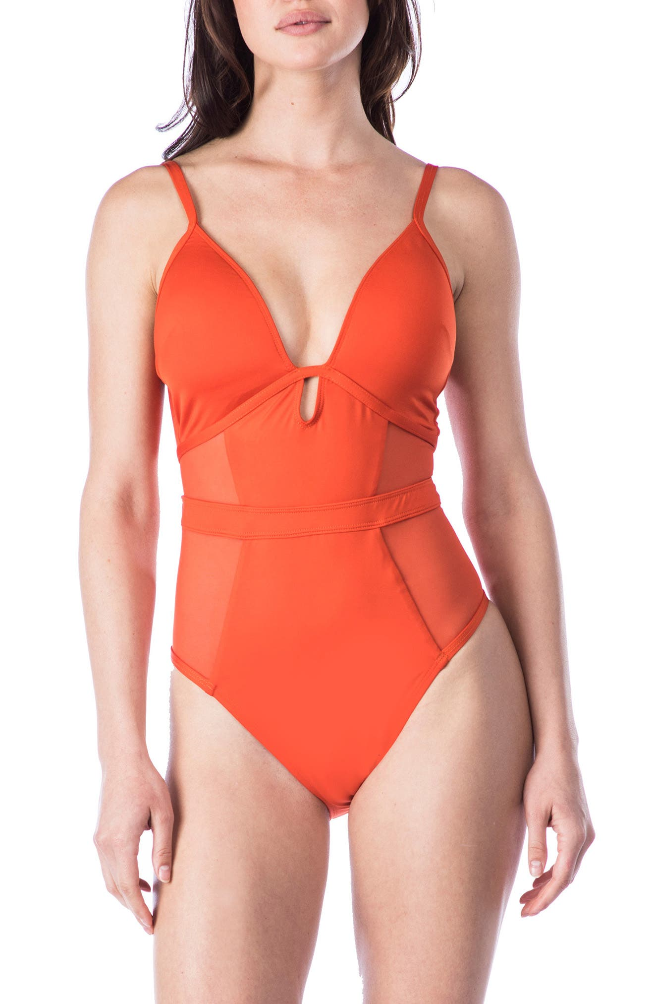 Push-Up One-Piece Swimsuit,                         Main,                         color, Sienna