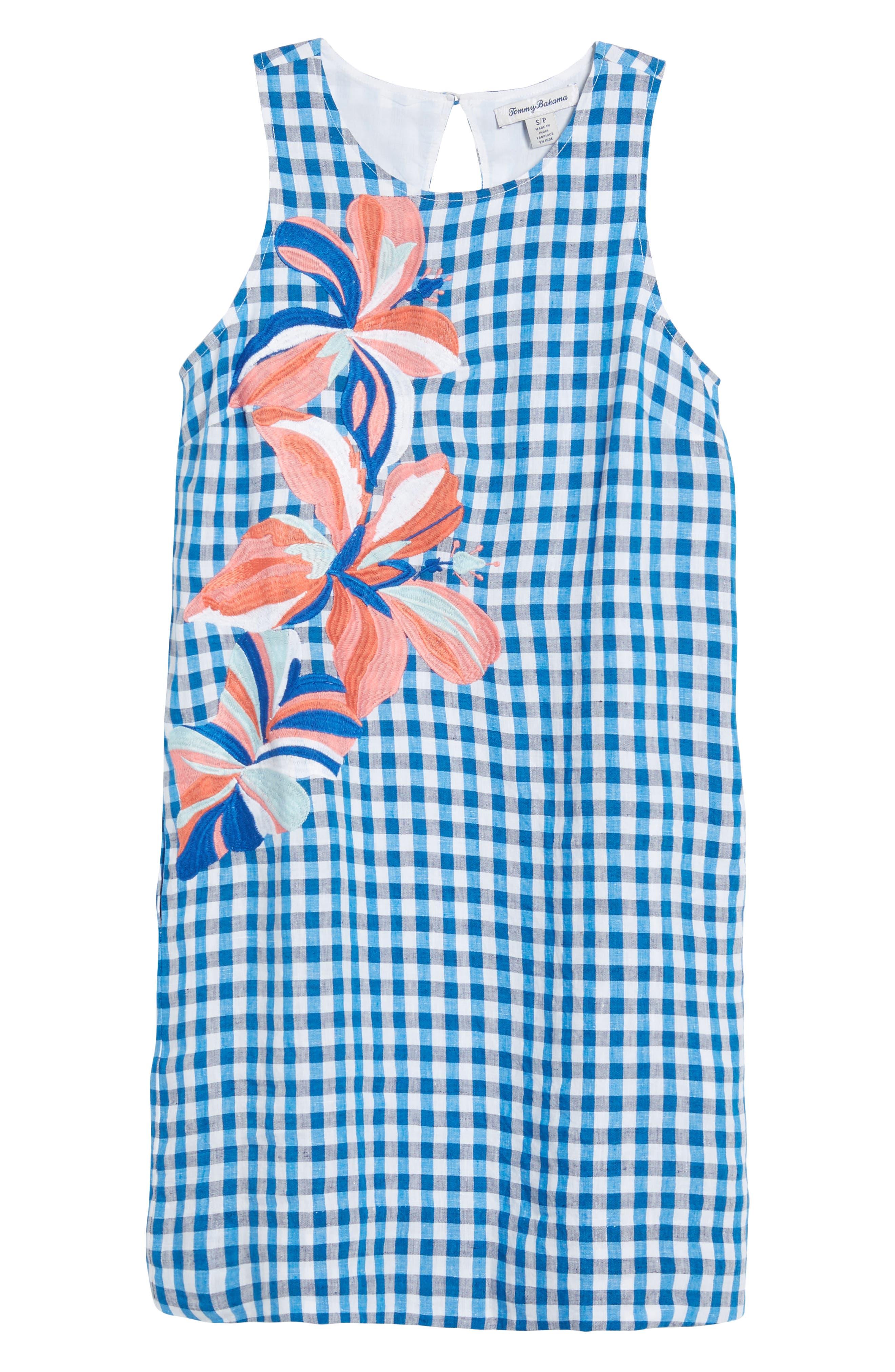 Gingham Shift Dress,                             Alternate thumbnail 7, color,                             Blue Aster