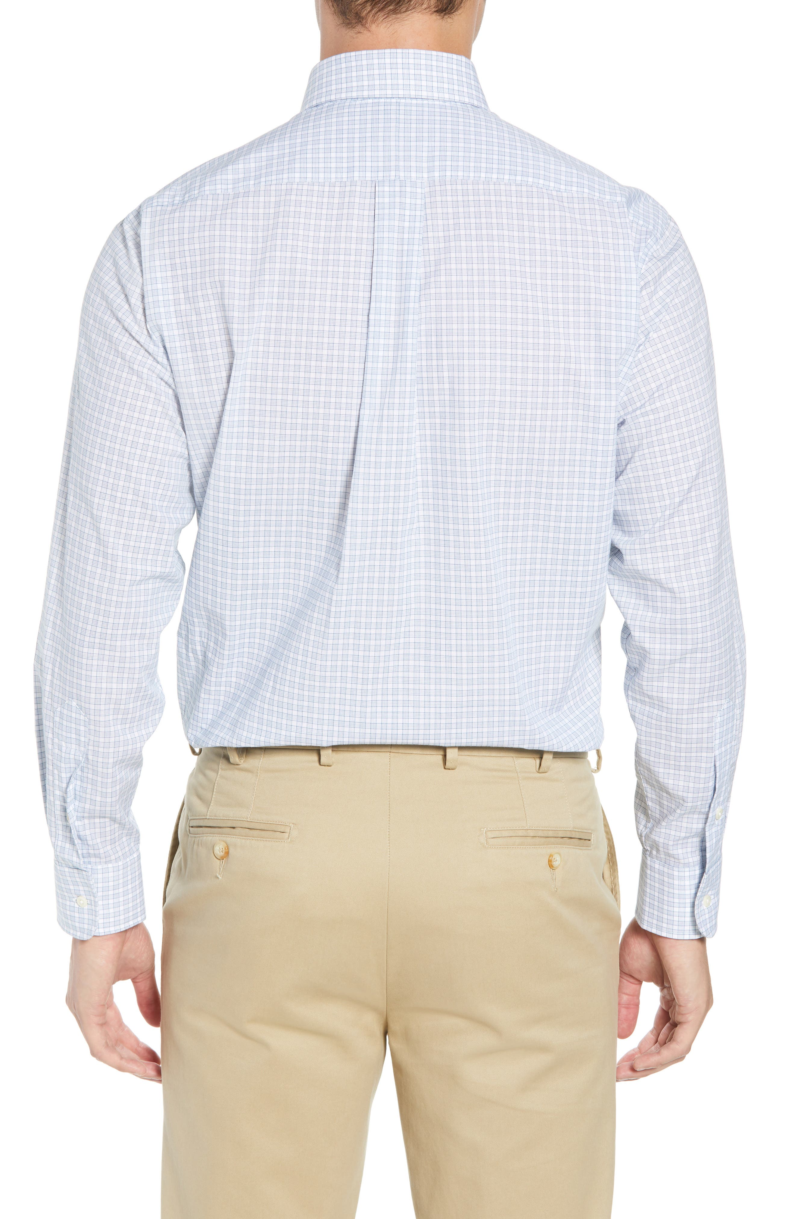 Tailored Fit Check Dress Shirt,                             Alternate thumbnail 3, color,                             Navy