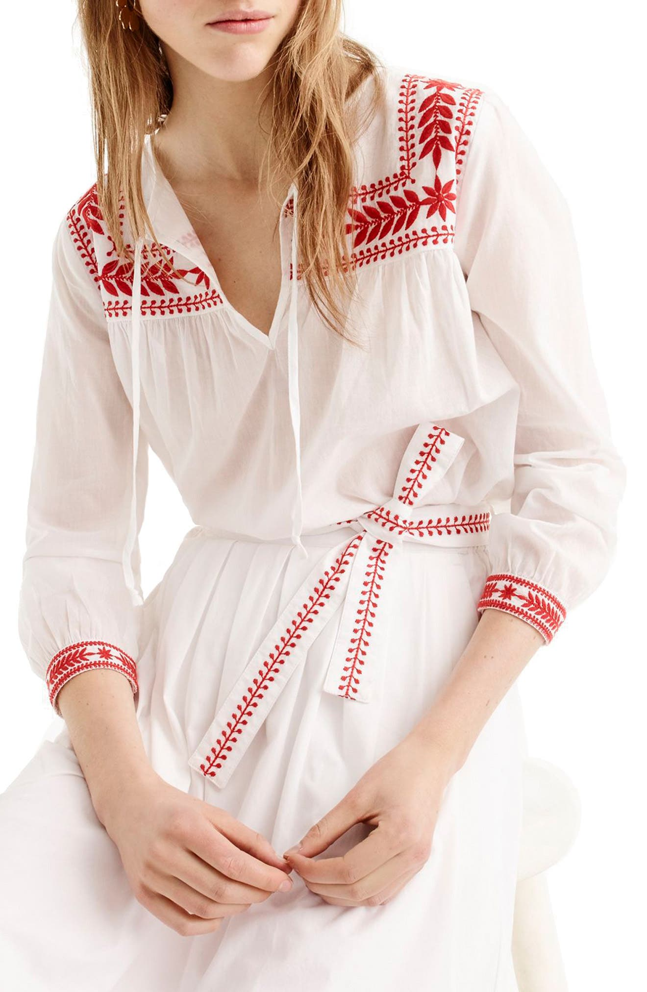 J.Crew Embroidered Semolina Top,                         Main,                         color, White Red