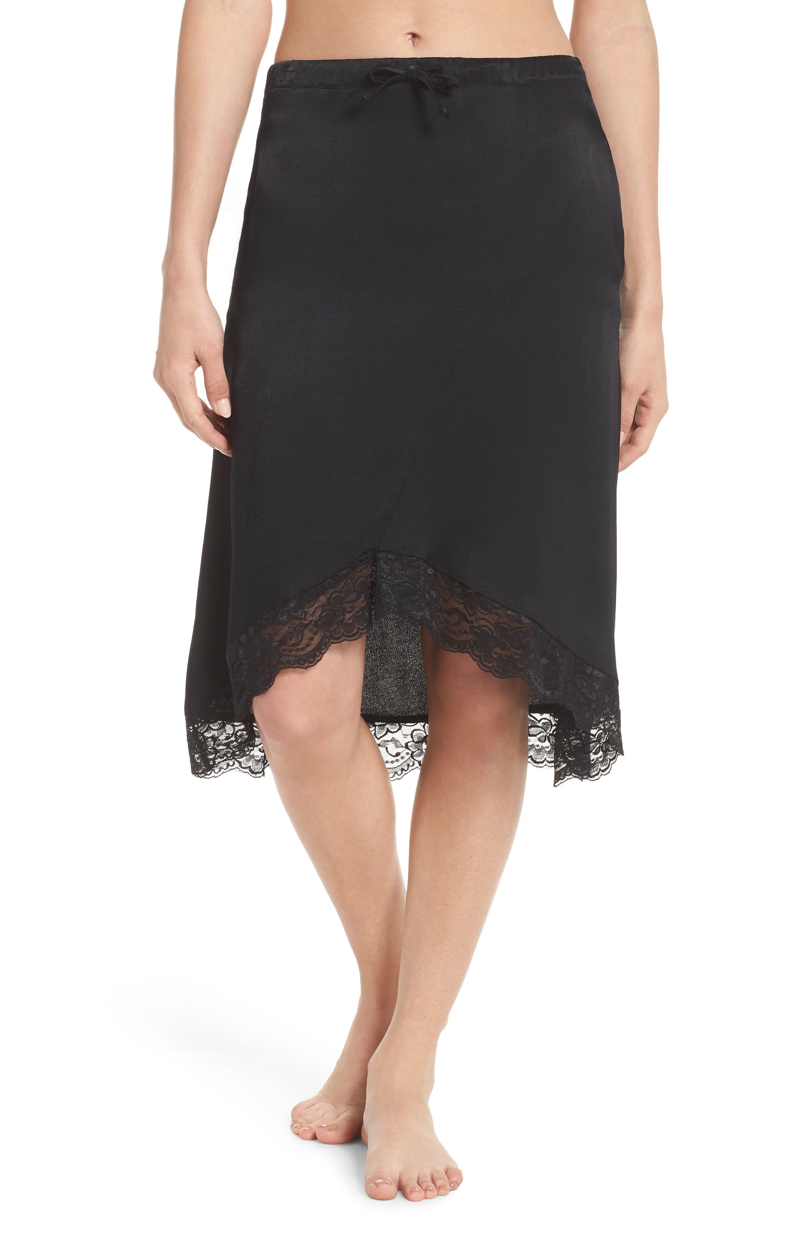 Lace Trim Slip Skirt,                         Main,                         color, Black