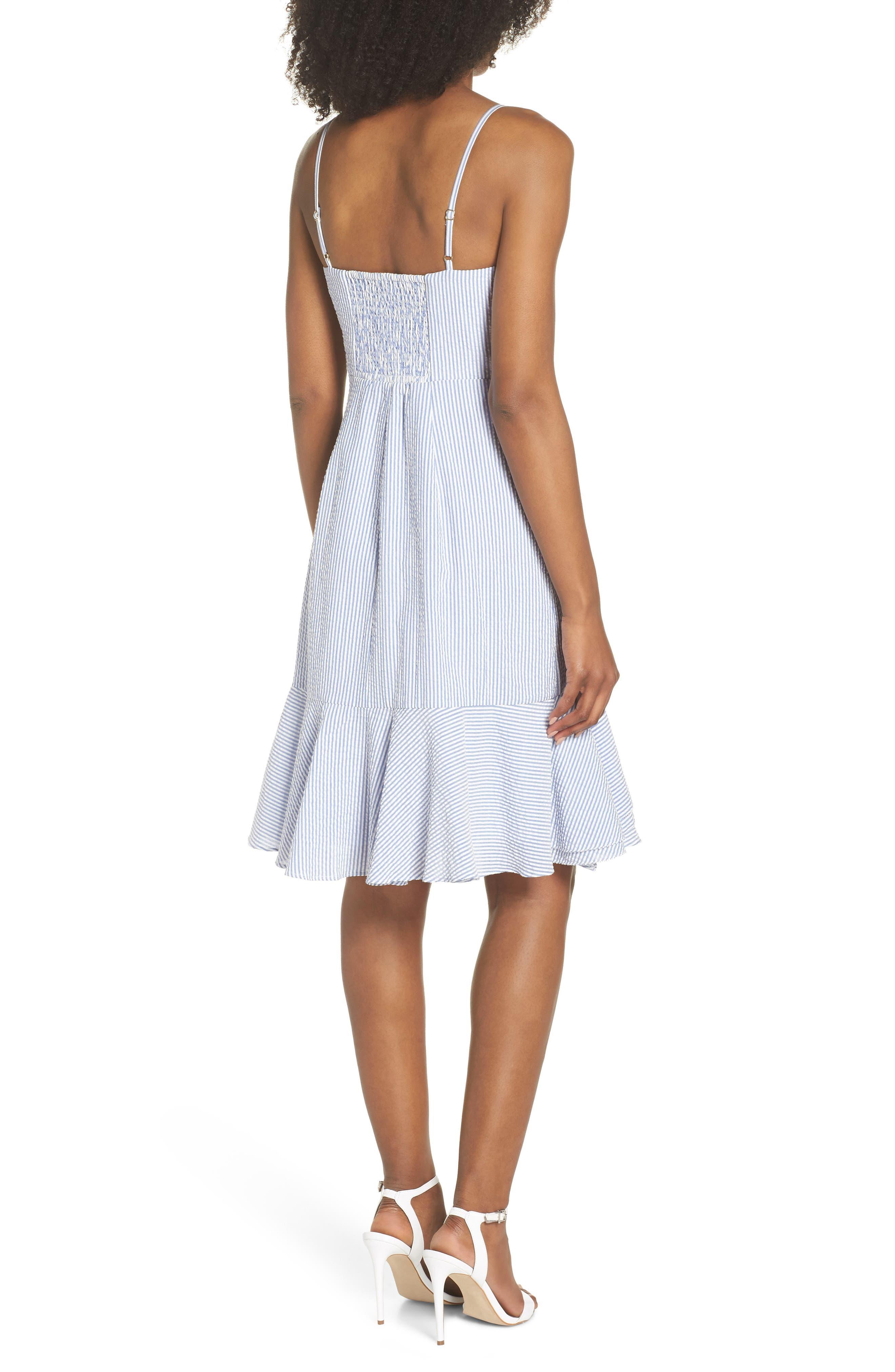 J.Crew Spaghetti Strap Ruffle Dress,                             Alternate thumbnail 2, color,                             Blue White