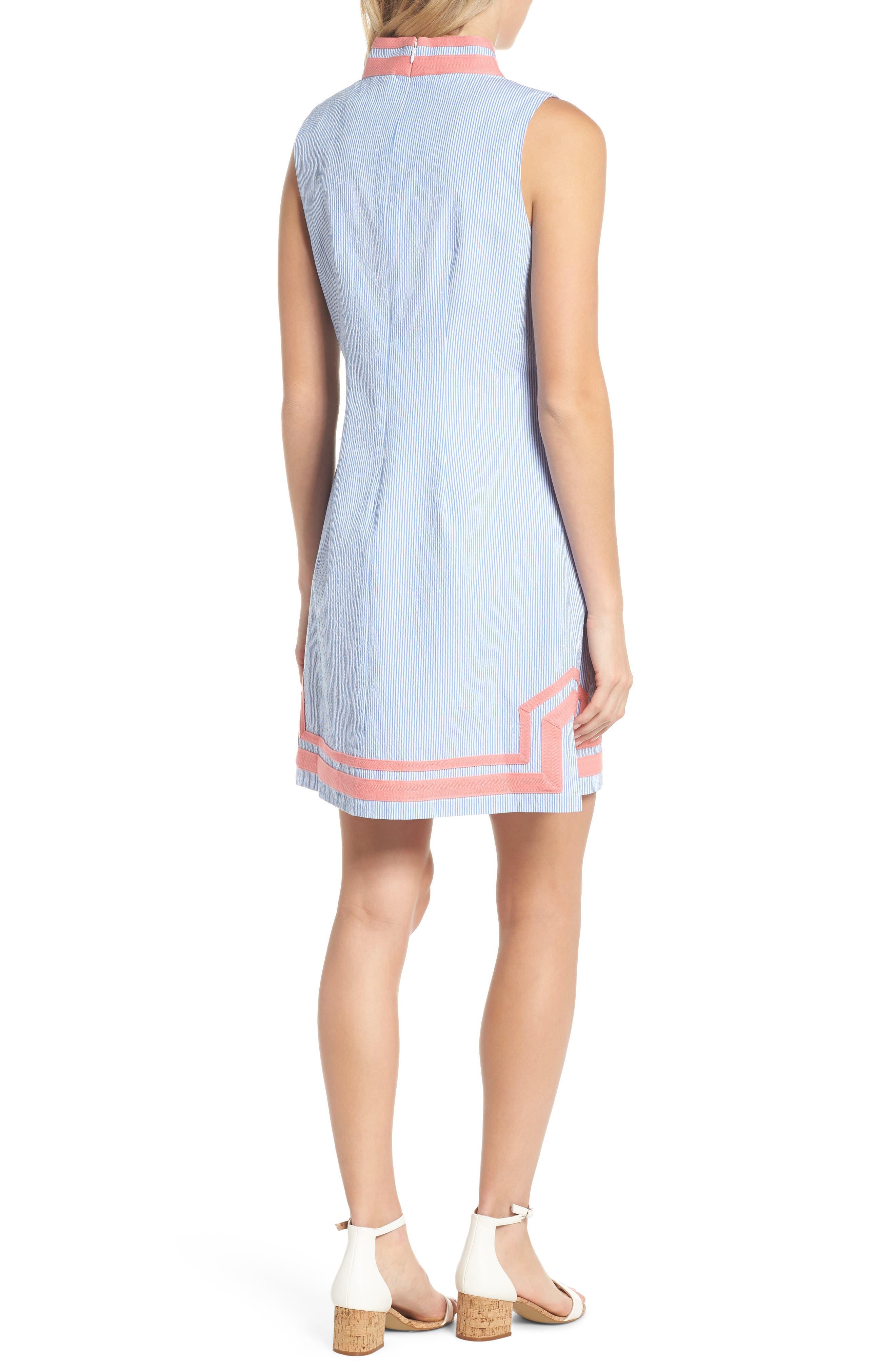 Stripe Sleeveless Shift Dress,                             Alternate thumbnail 2, color,                             Orange Sky