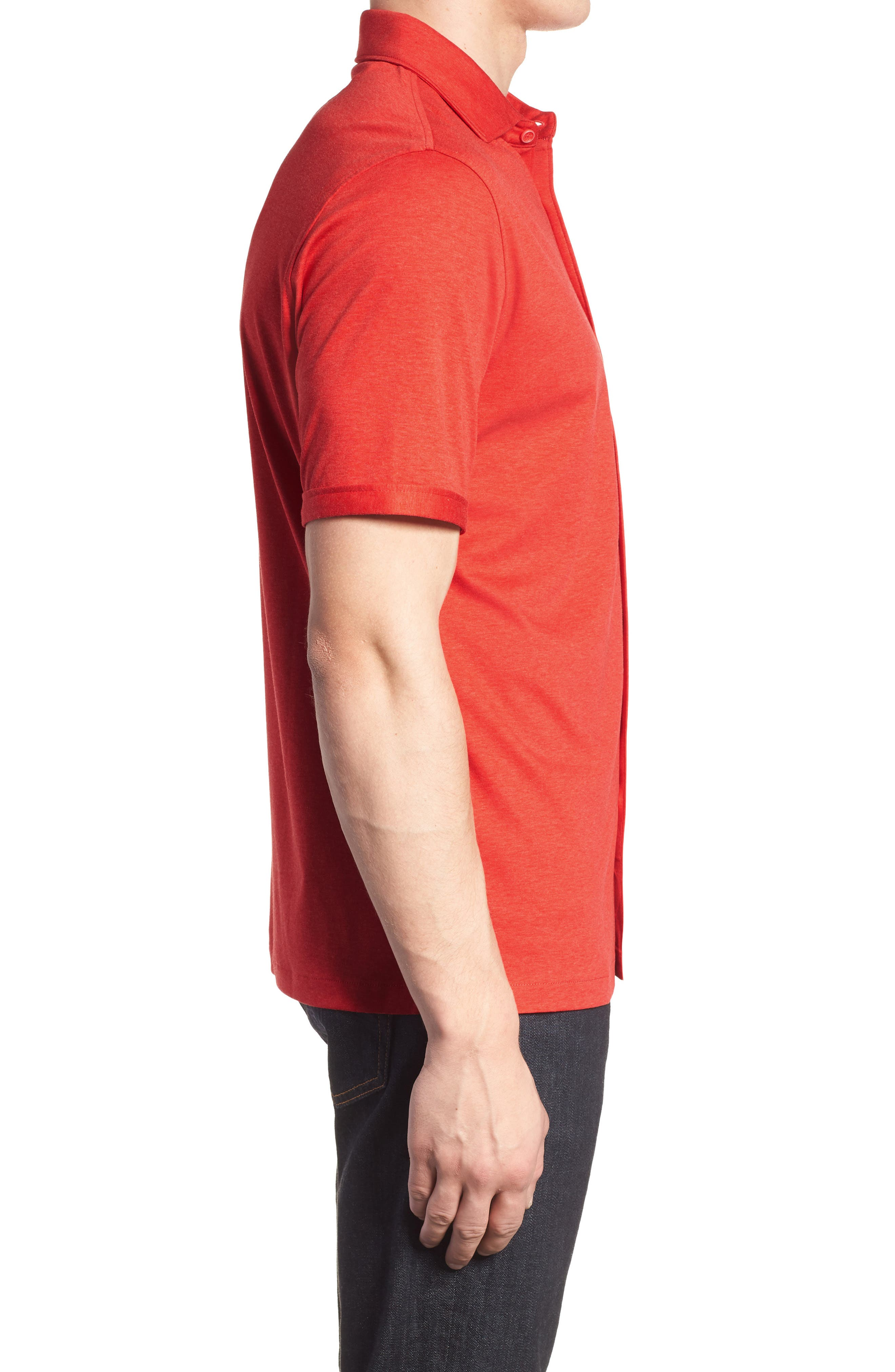 Trim Fit Heather Knit Sport Shirt,                             Alternate thumbnail 3, color,                             Cherry