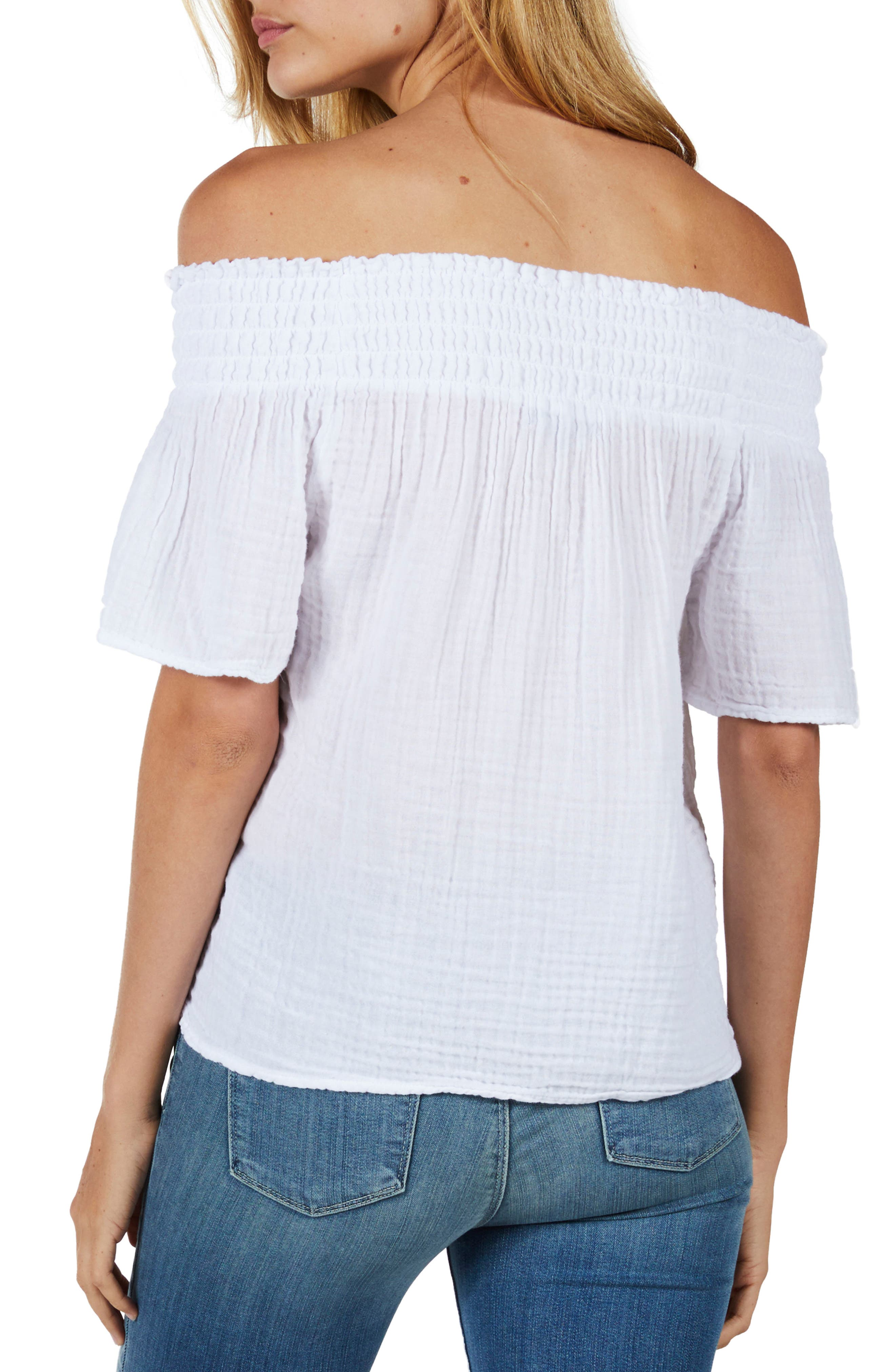 Smocked Cotton Off the Shoulder Top,                             Alternate thumbnail 2, color,                             White