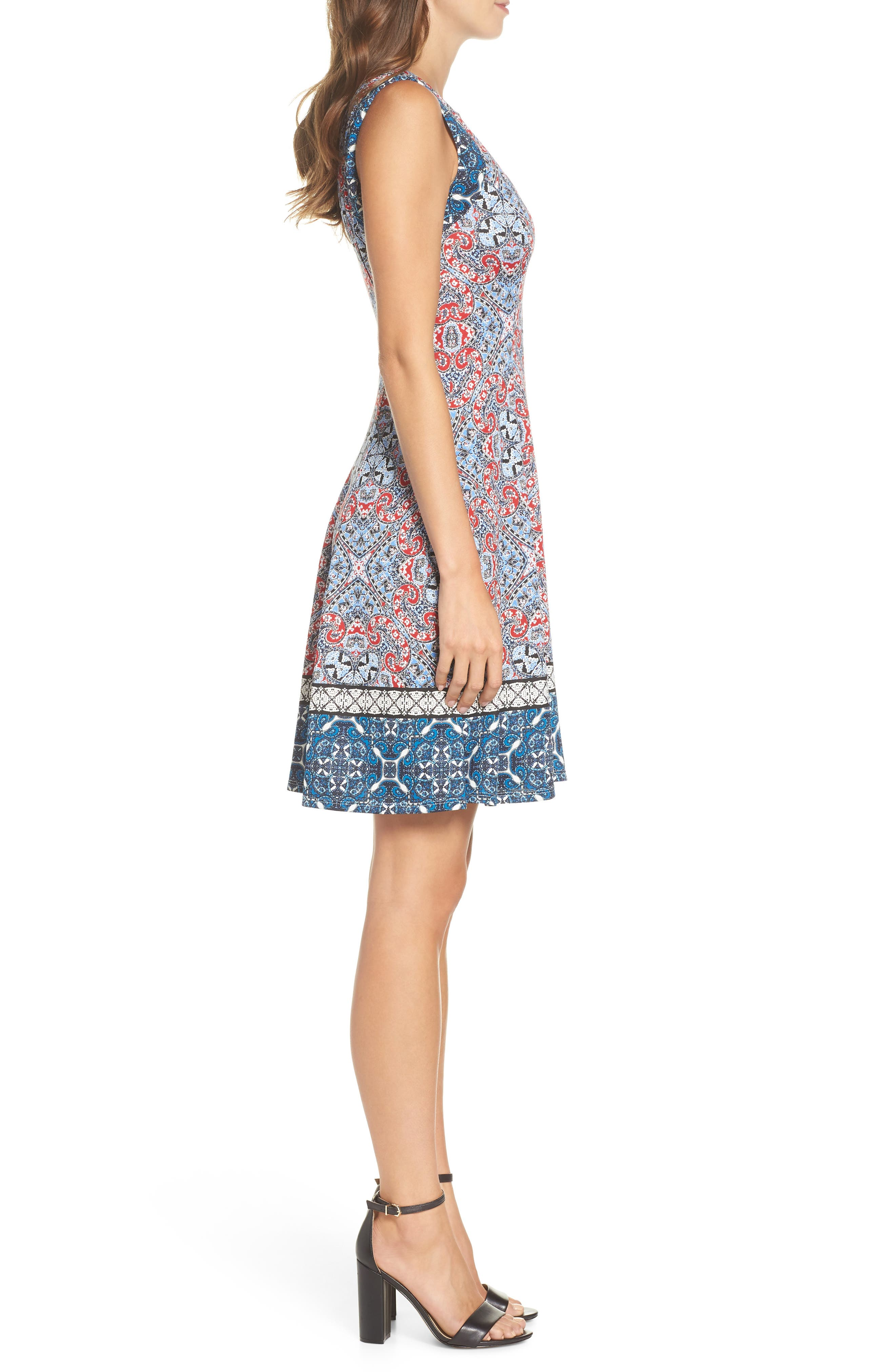 Print Scuba Fit & Flare Dress,                             Alternate thumbnail 3, color,                             Soft White/ Red