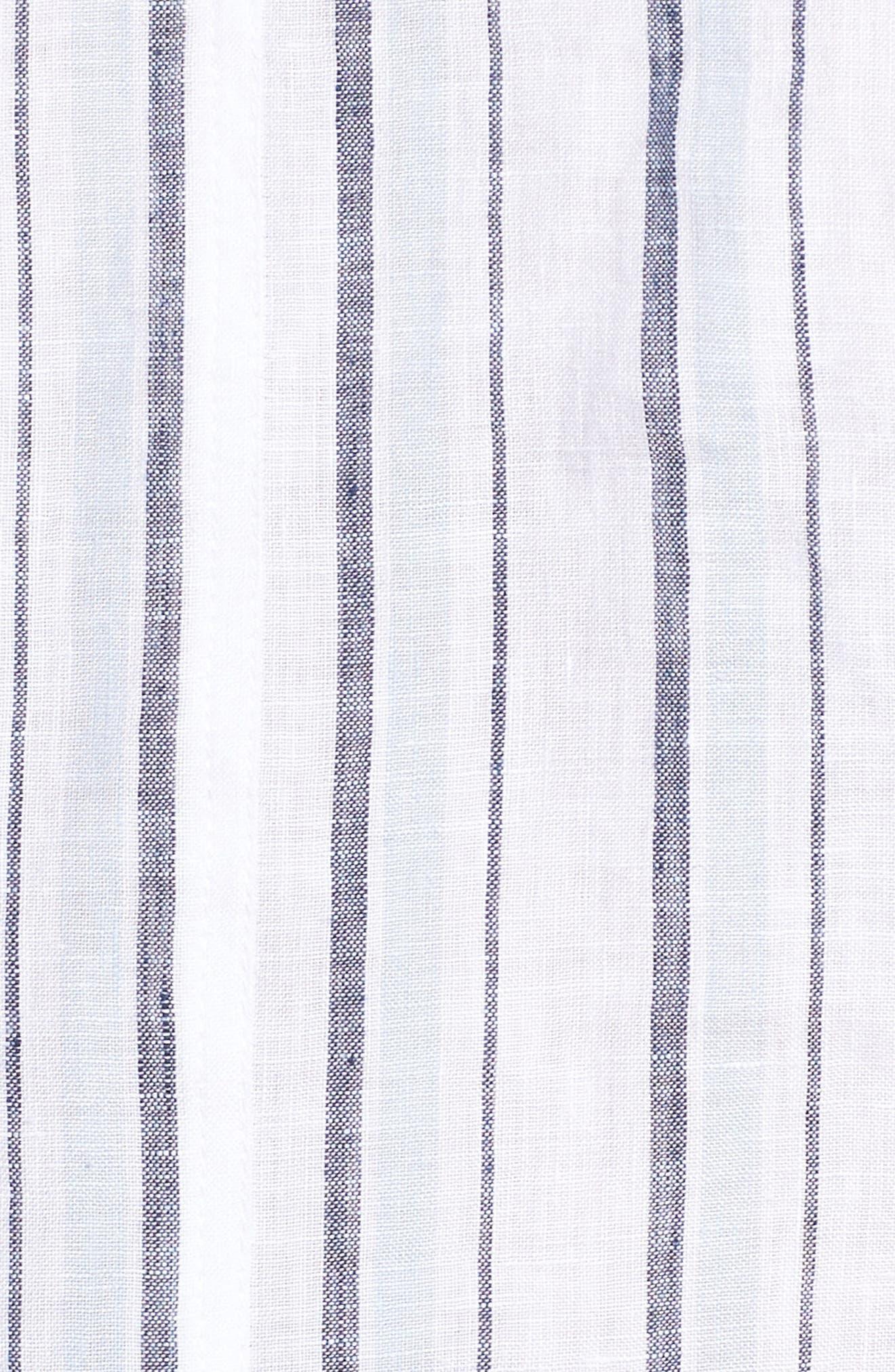 Stripe Lace-Up Back Linen Top,                             Alternate thumbnail 5, color,                             Dew Blue