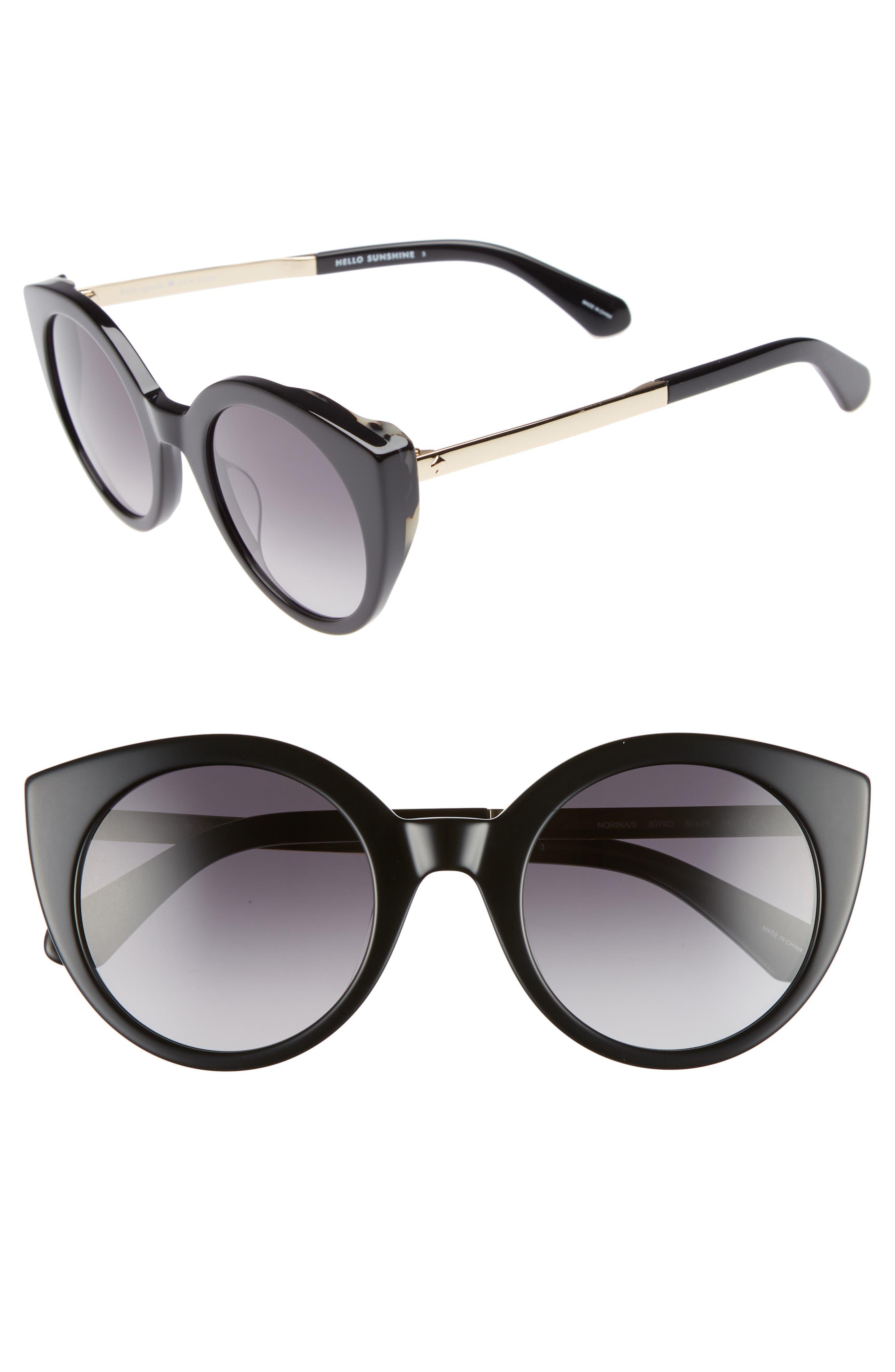 norinas 50mm cat eye sunglasses,                             Main thumbnail 1, color,                             Black