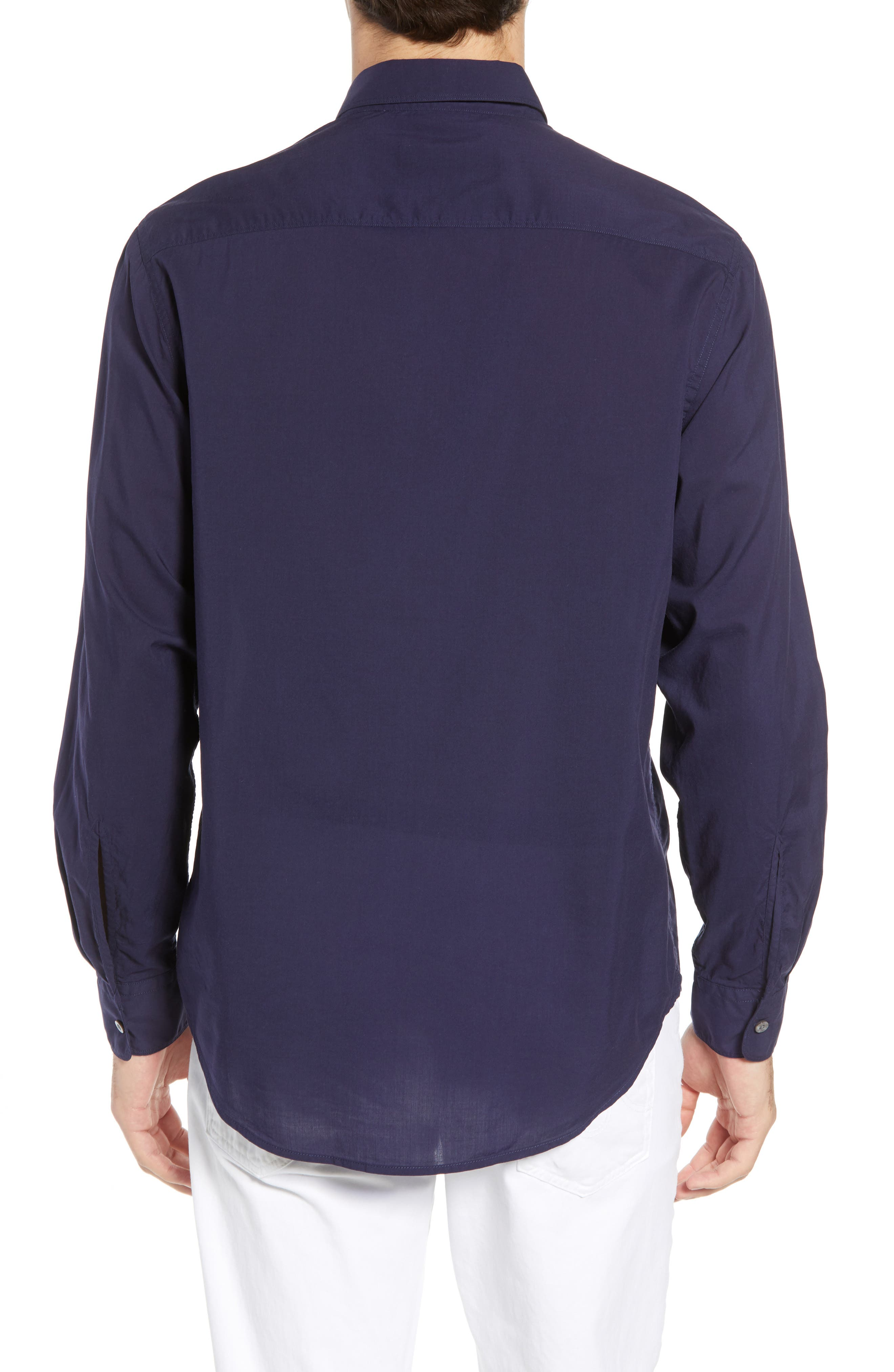 Pacifica Regular Fit Solid Sport Shirt,                             Alternate thumbnail 3, color,                             Navy