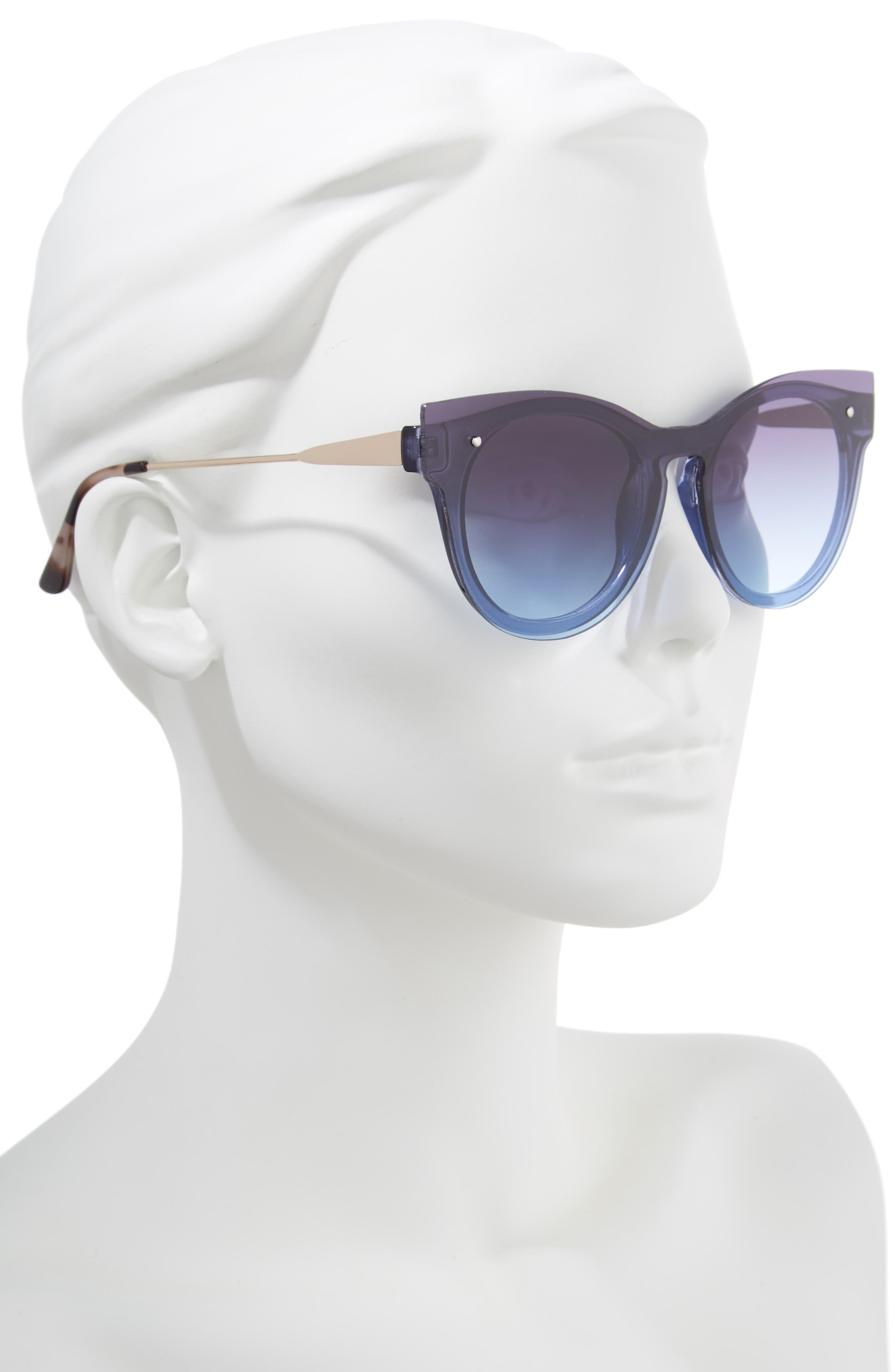 51mm Flat Cat Eye Sunglasses,                             Alternate thumbnail 2, color,                             Gold/ Blue