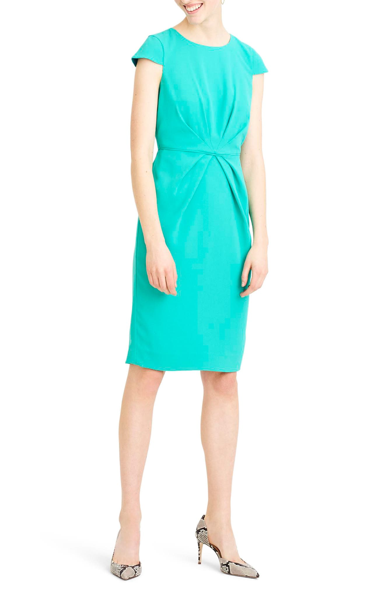 J.Crew Luz Tie Front Crepe Dress,                             Main thumbnail 1, color,                             Tropical Marine