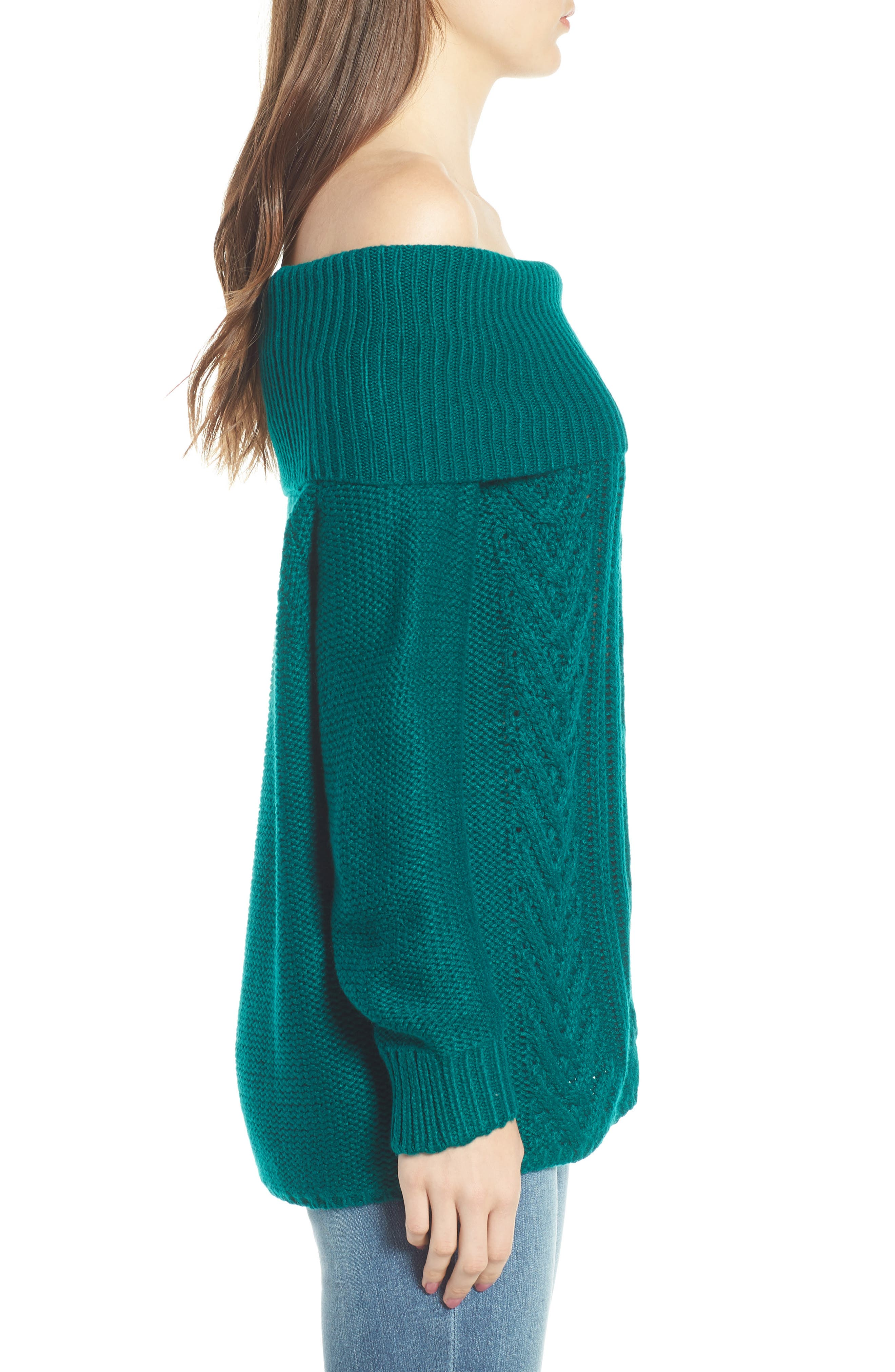 Off Shore Cable Knit Sweater,                             Alternate thumbnail 3, color,                             Deep Lagoon