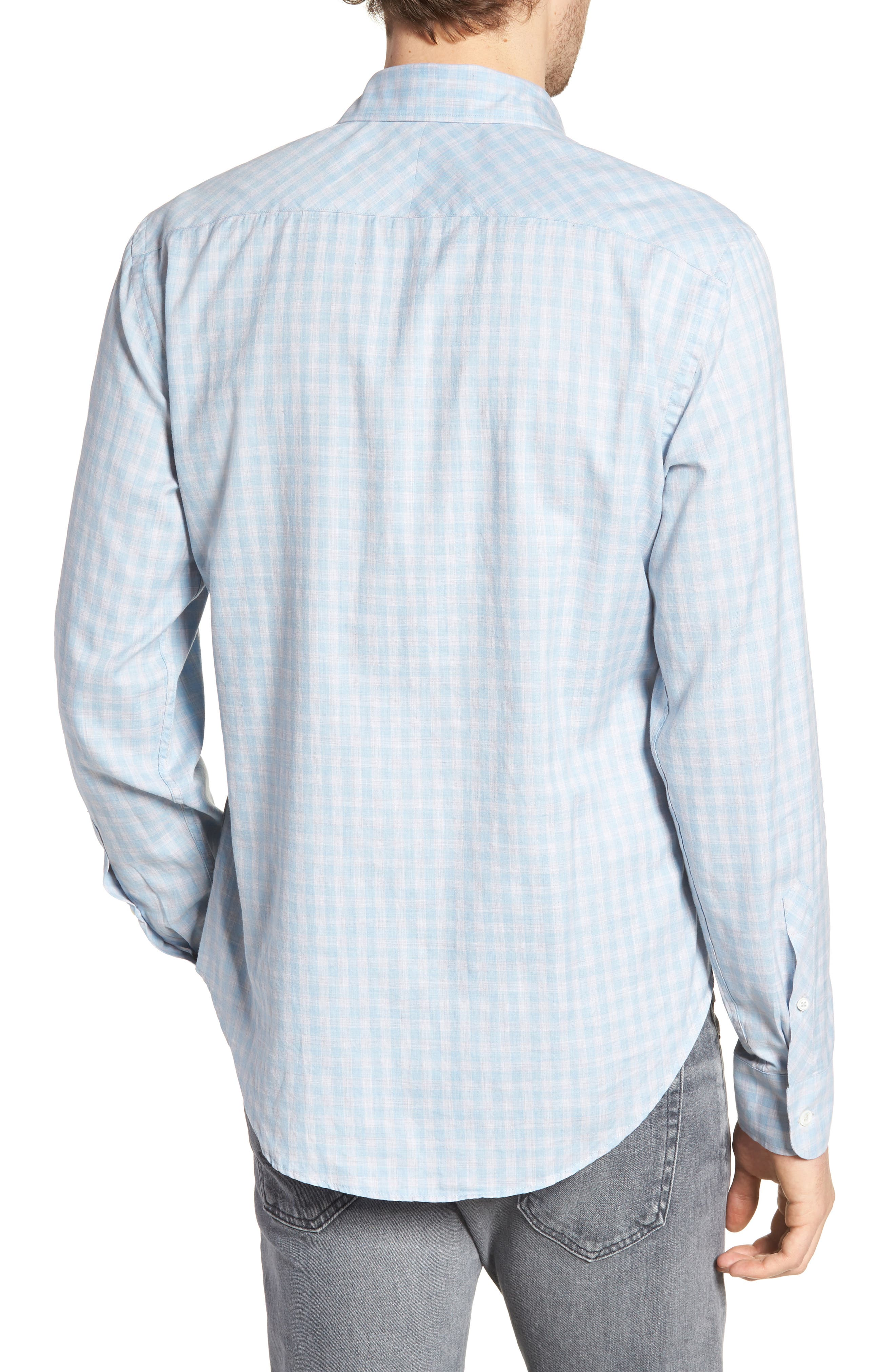 Kirby Slim Fit Check Sport Shirt,                             Alternate thumbnail 3, color,                             Blue/ Grey