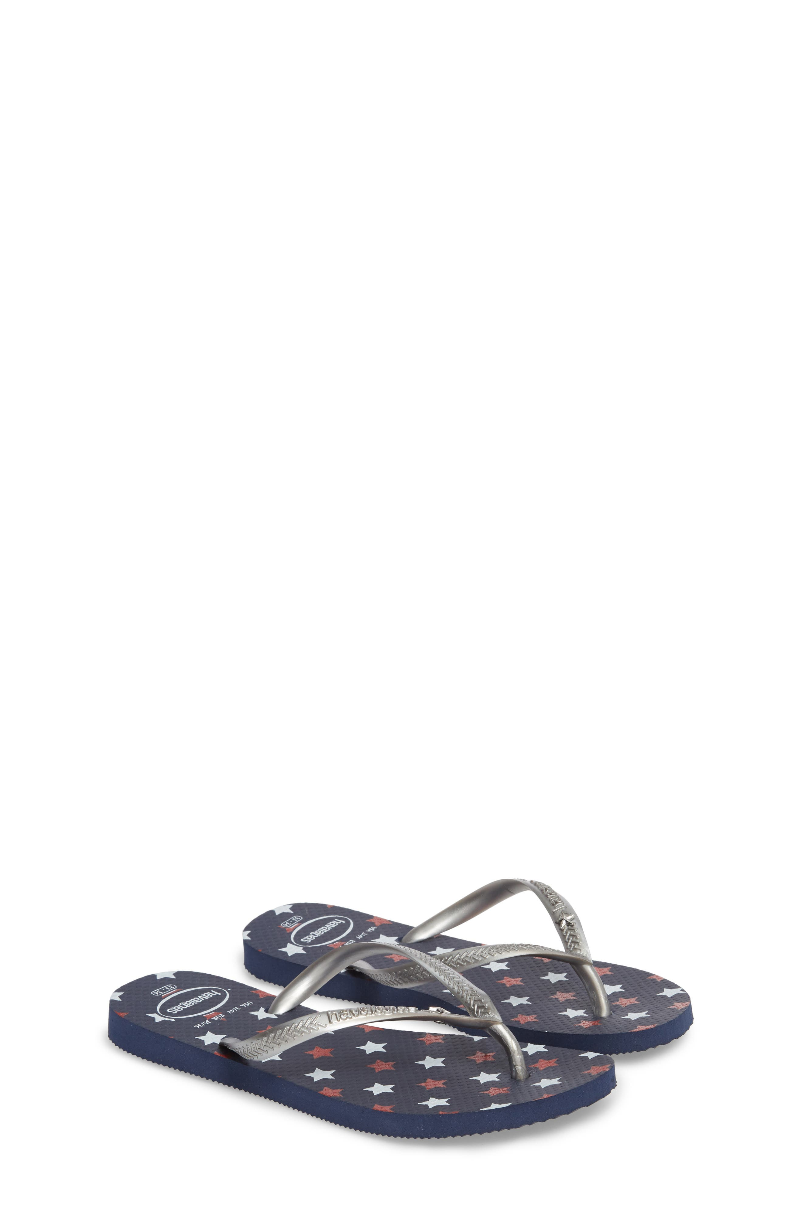 Havianas Slim Stars Glitter Flip Flop,                             Main thumbnail 1, color,                             Navy Blue