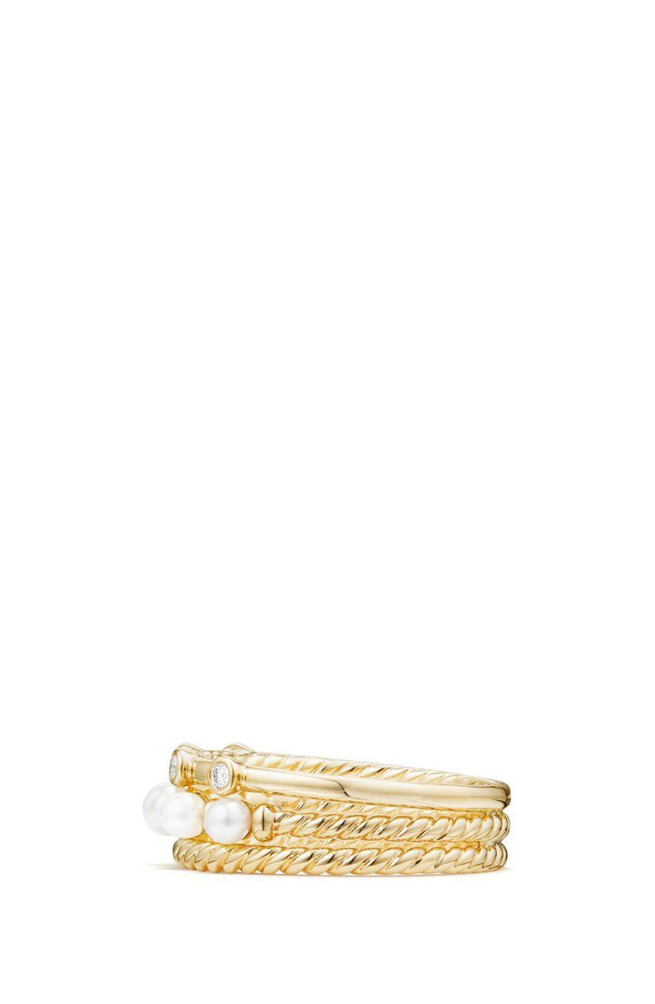 Petite Perle Narrow Multi Row Ring with Pearls and Diamonds,                             Alternate thumbnail 3, color,                             Gold/ Diamond/ Pearl