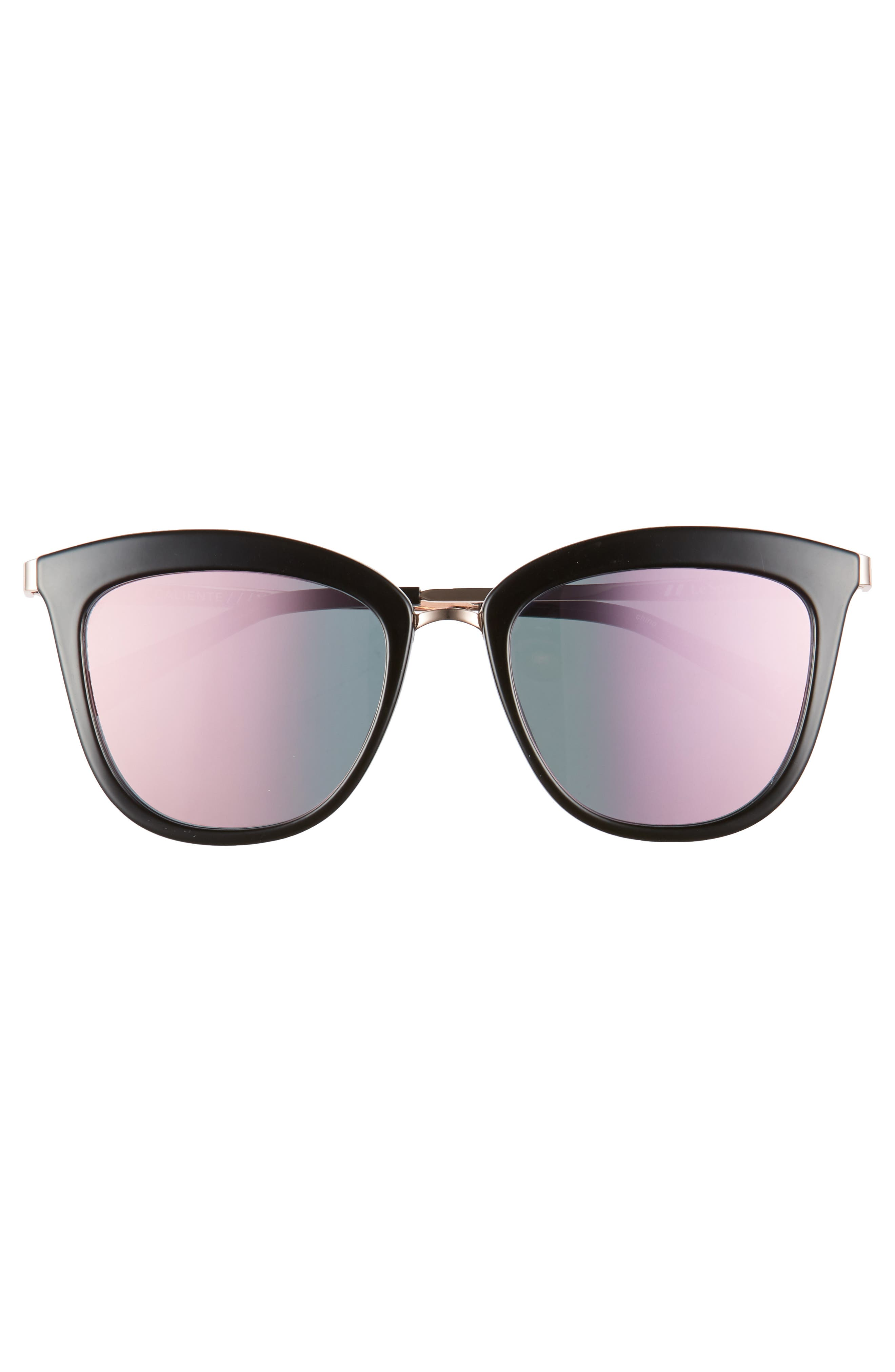 Caliente 53mm Cat Eye Sunglasses,                             Alternate thumbnail 3, color,                             Black/ Rose Gold