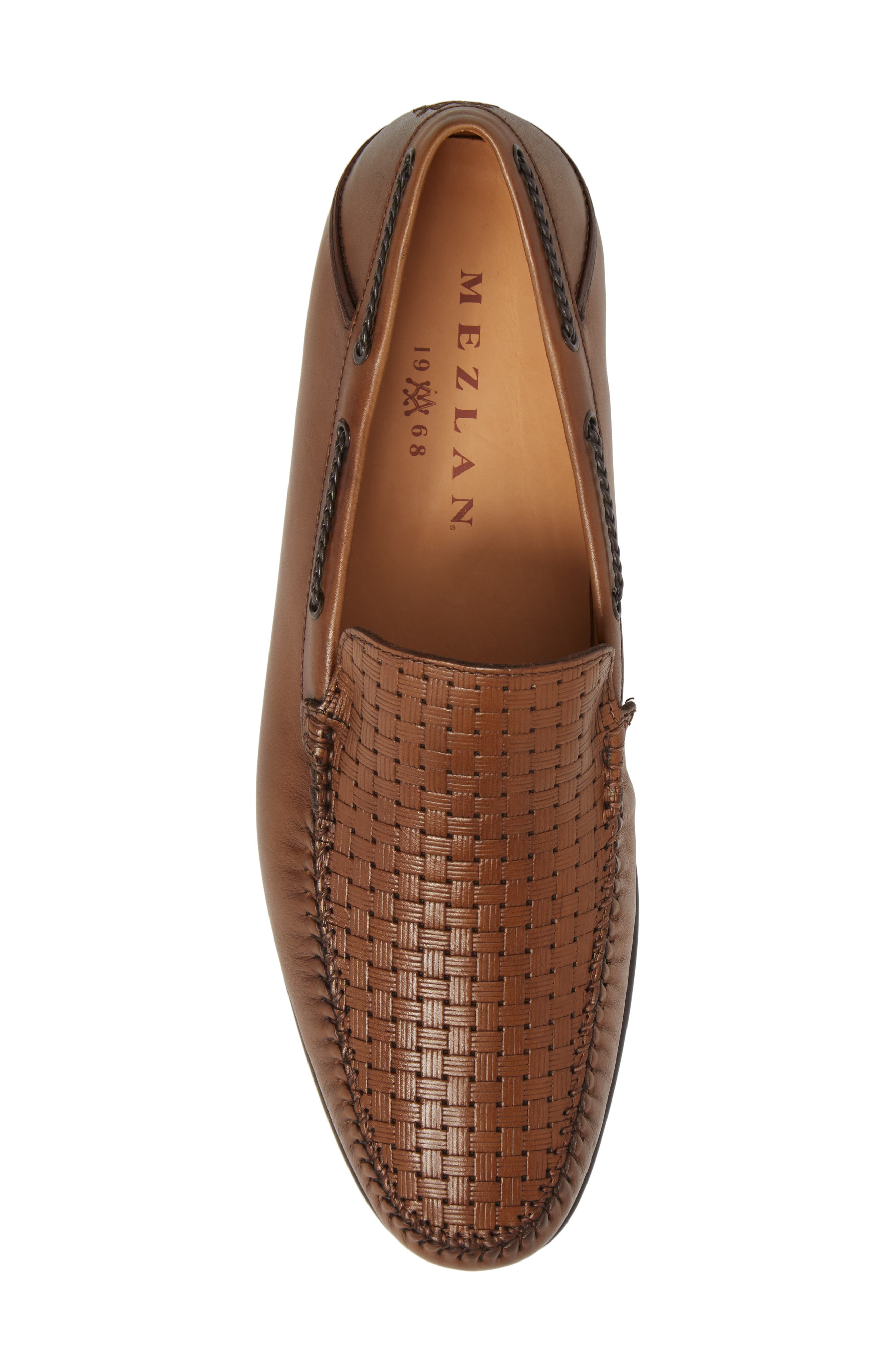 Jano Embossed Moc-Toe Loafer,                             Alternate thumbnail 5, color,                             Cognac Leather