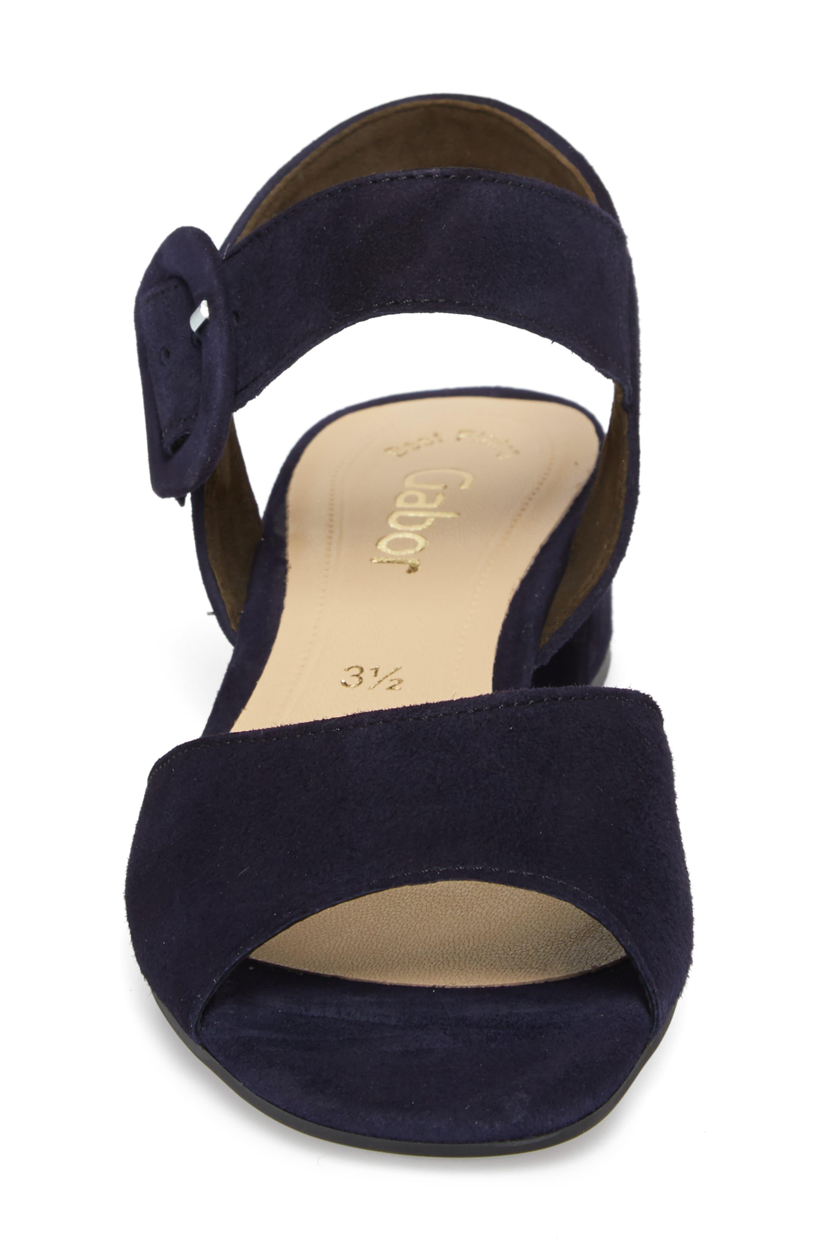 Block Heel Sandal,                             Alternate thumbnail 4, color,                             Navy Suede