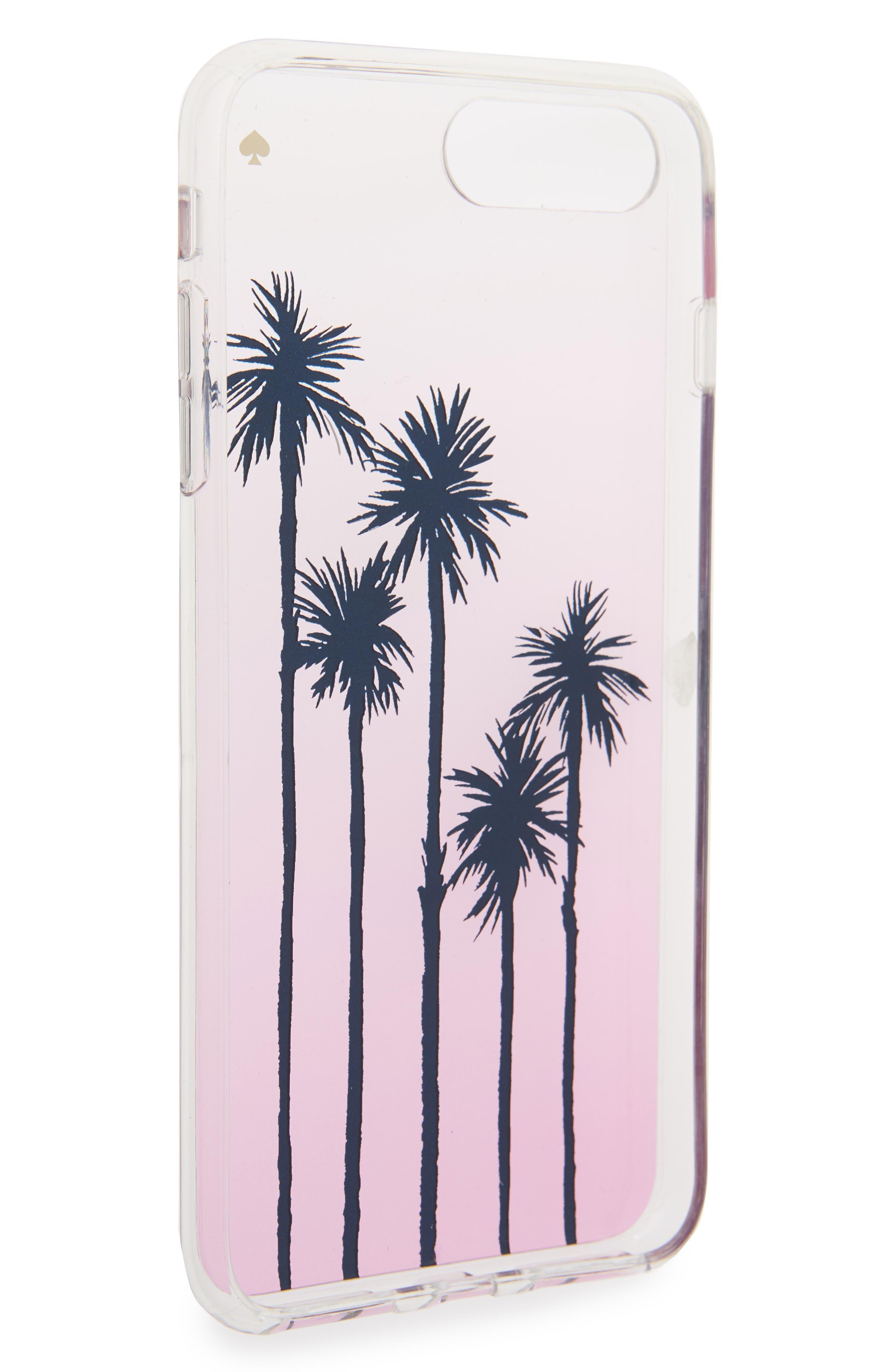 transparent palm tree ombré iPhone 7/8 & 7/8 Plus case,                             Alternate thumbnail 2, color,                             Pink Multi