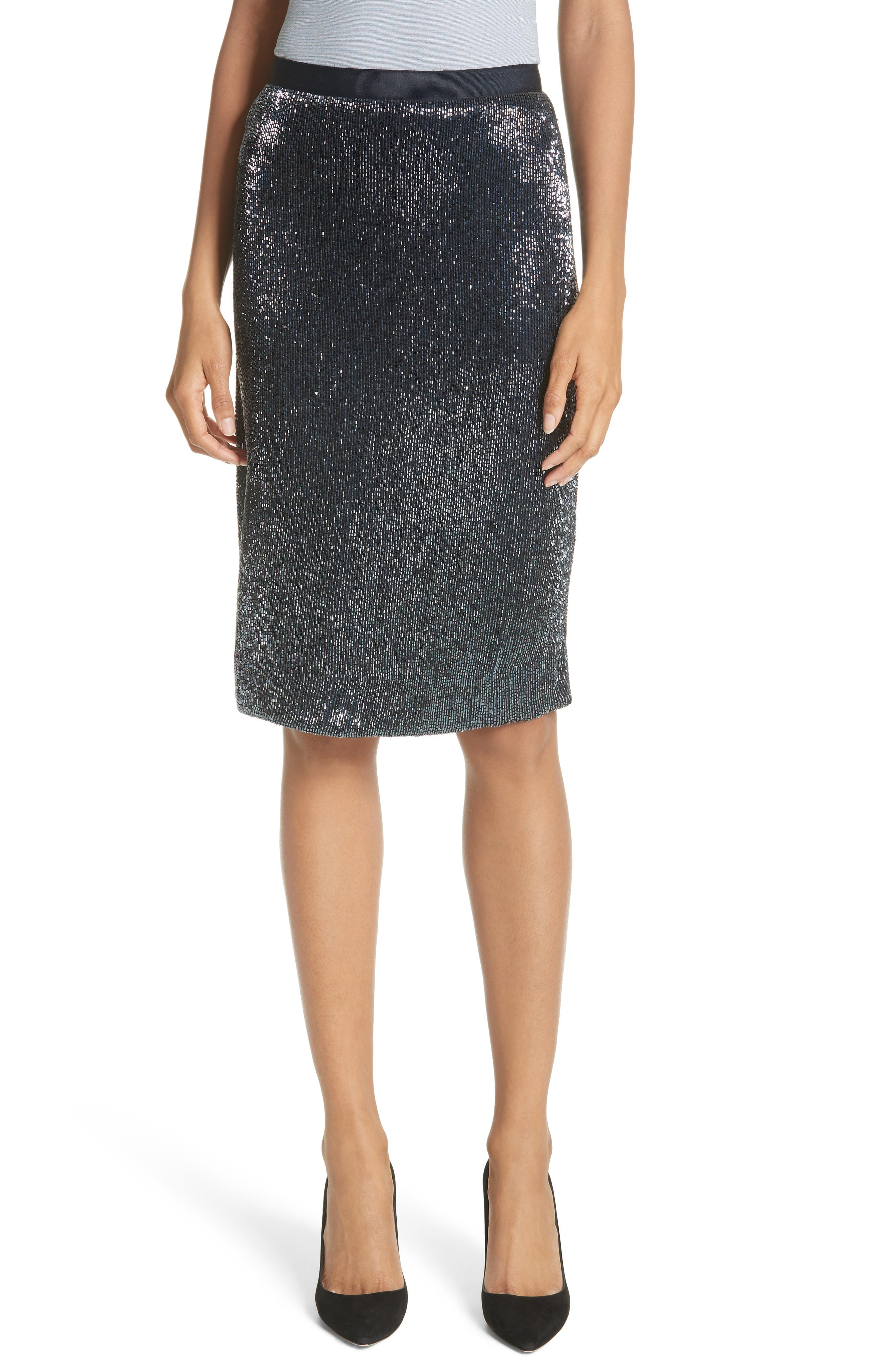 Edryce Beaded Pencil Skirt,                         Main,                         color, Dark Navy