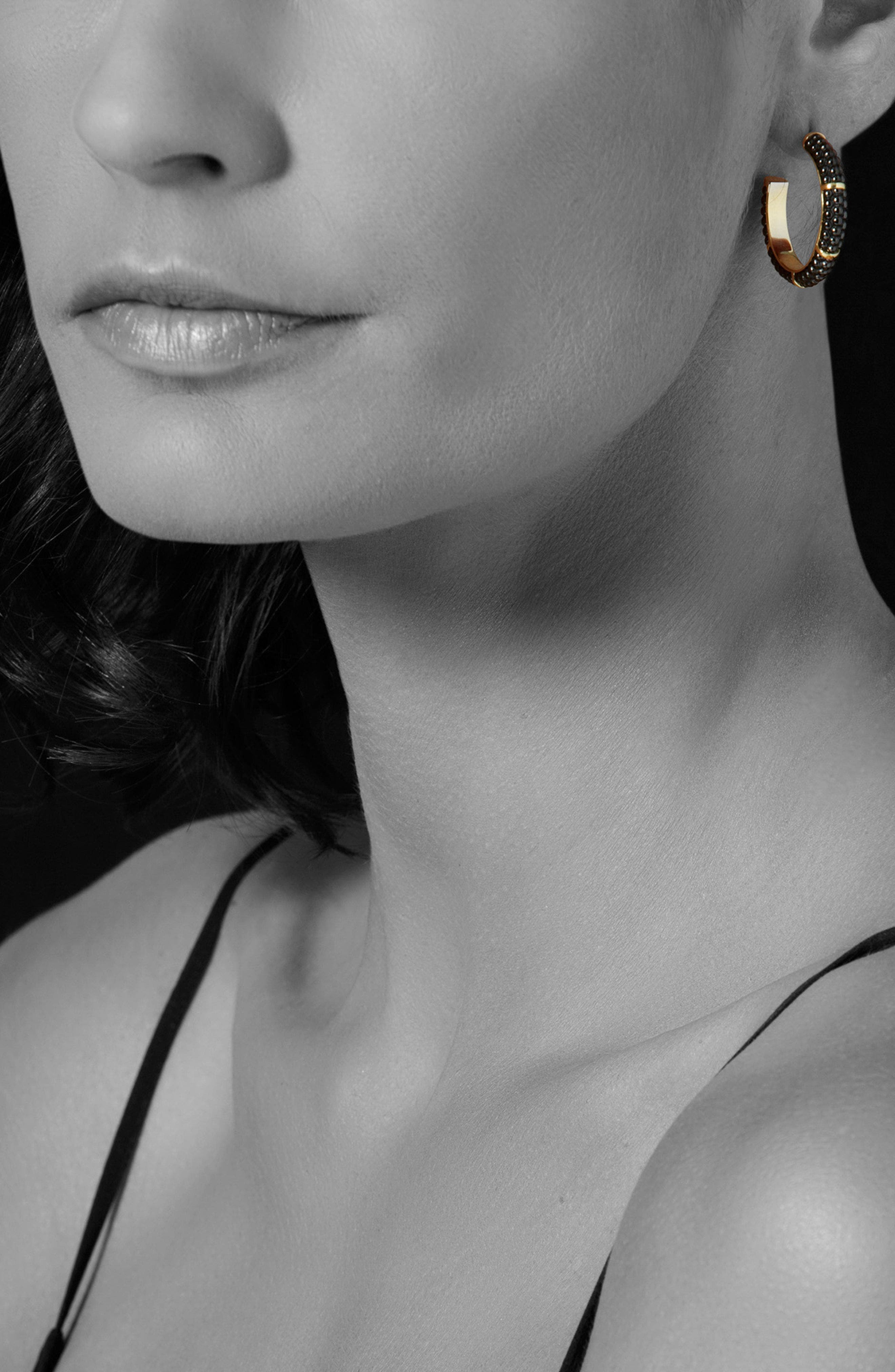 Gold & Black Caviar Hoop Earrings,                             Alternate thumbnail 2, color,                             Gold