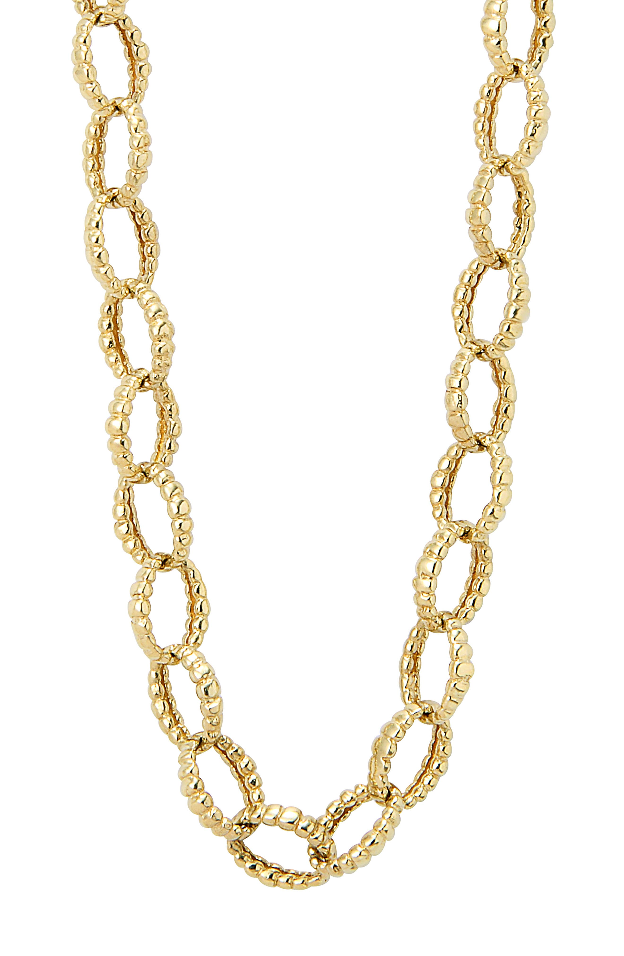 Caviar Gold Fluted Oval Link Necklace,                             Alternate thumbnail 3, color,                             Gold