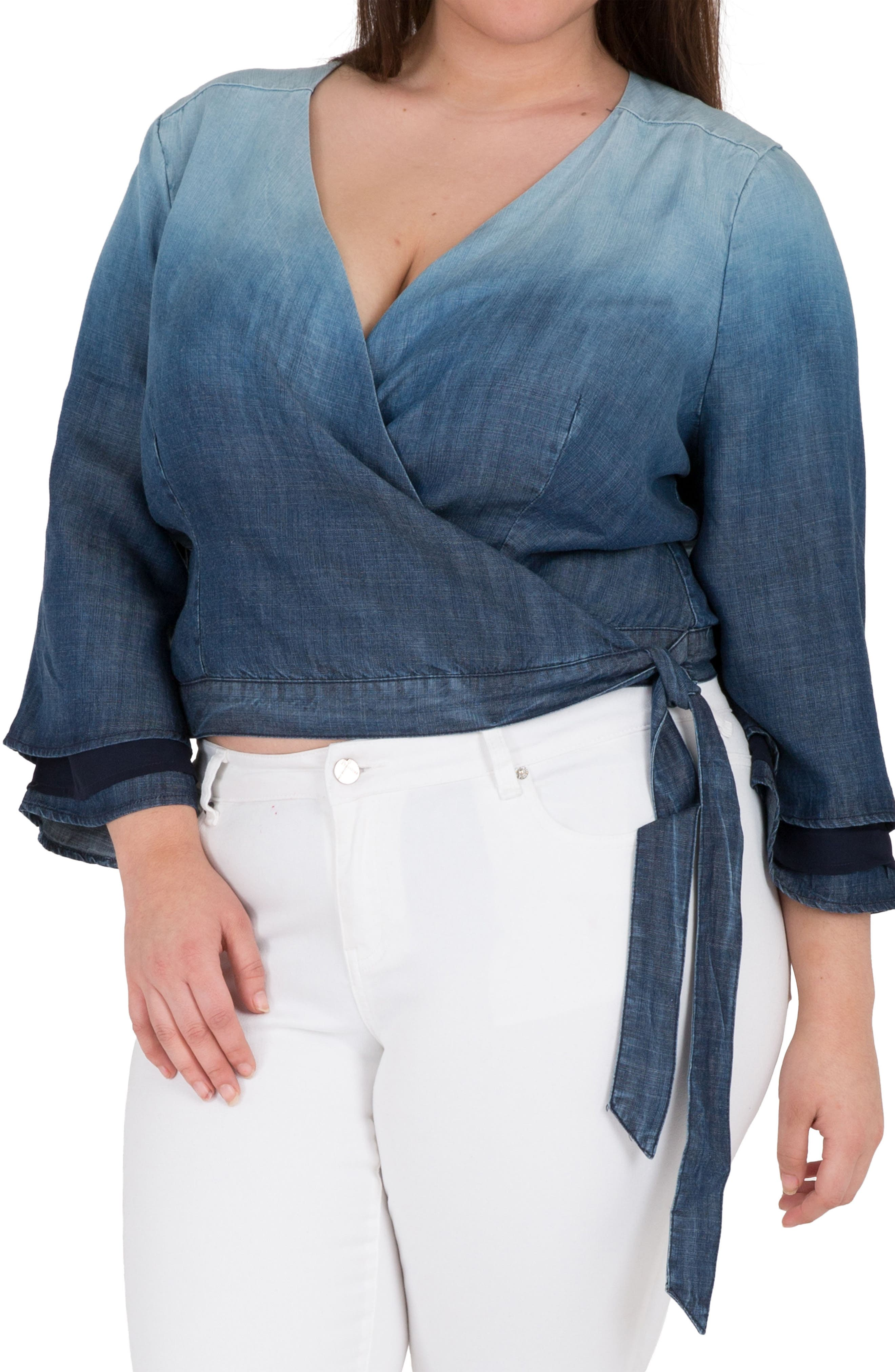 Lily Ombré Denim Wrap Crop Top,                             Main thumbnail 1, color,                             Medium Blue