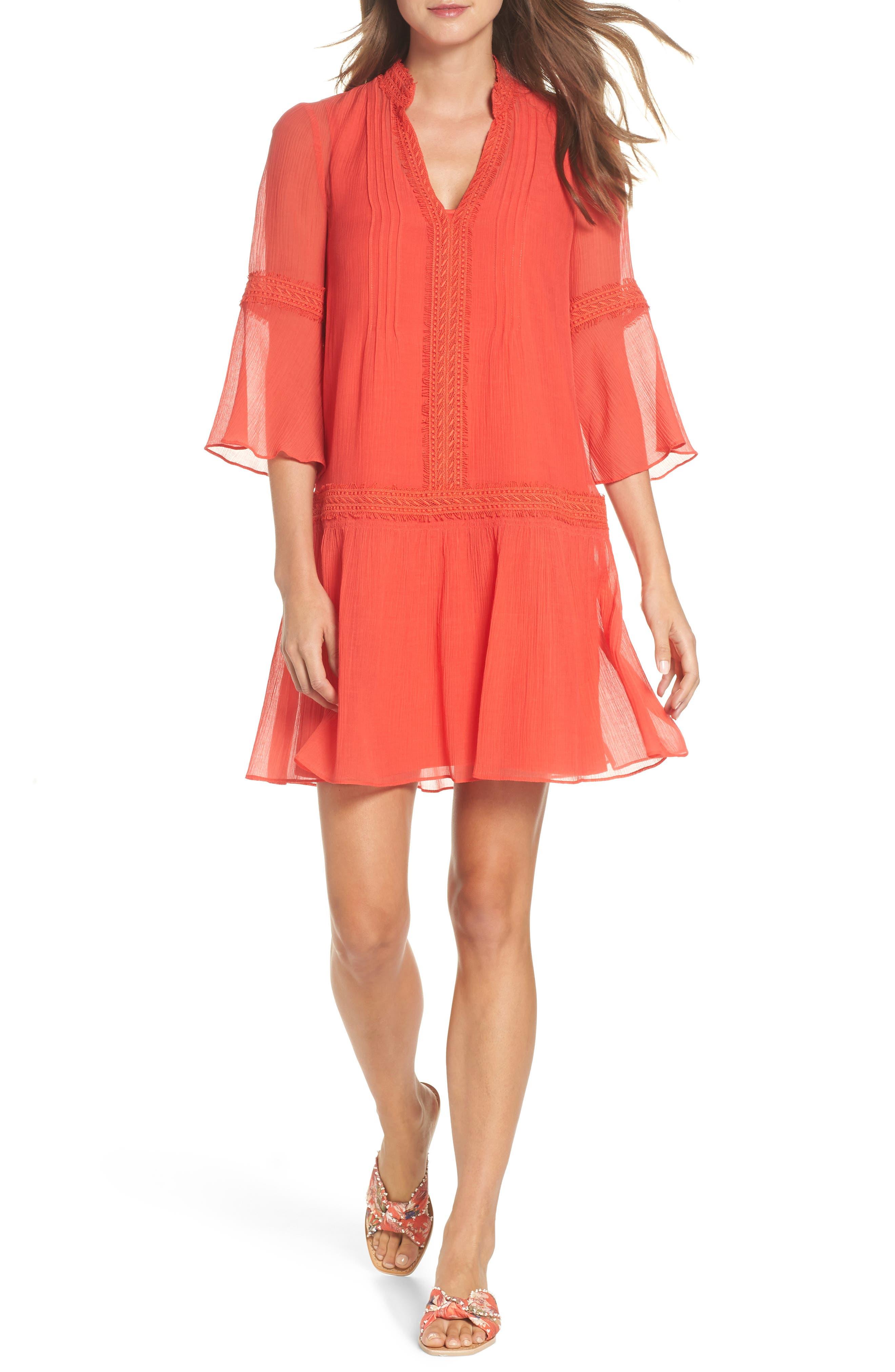 Mala Crinkle Shift Dress,                             Main thumbnail 1, color,                             Strawberry