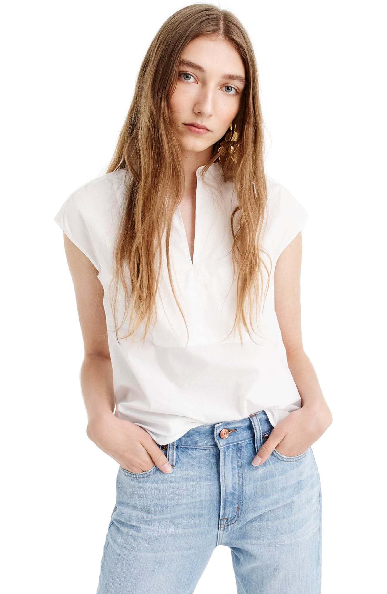 J.Crew Cotton Poplin Cap Sleeve Top