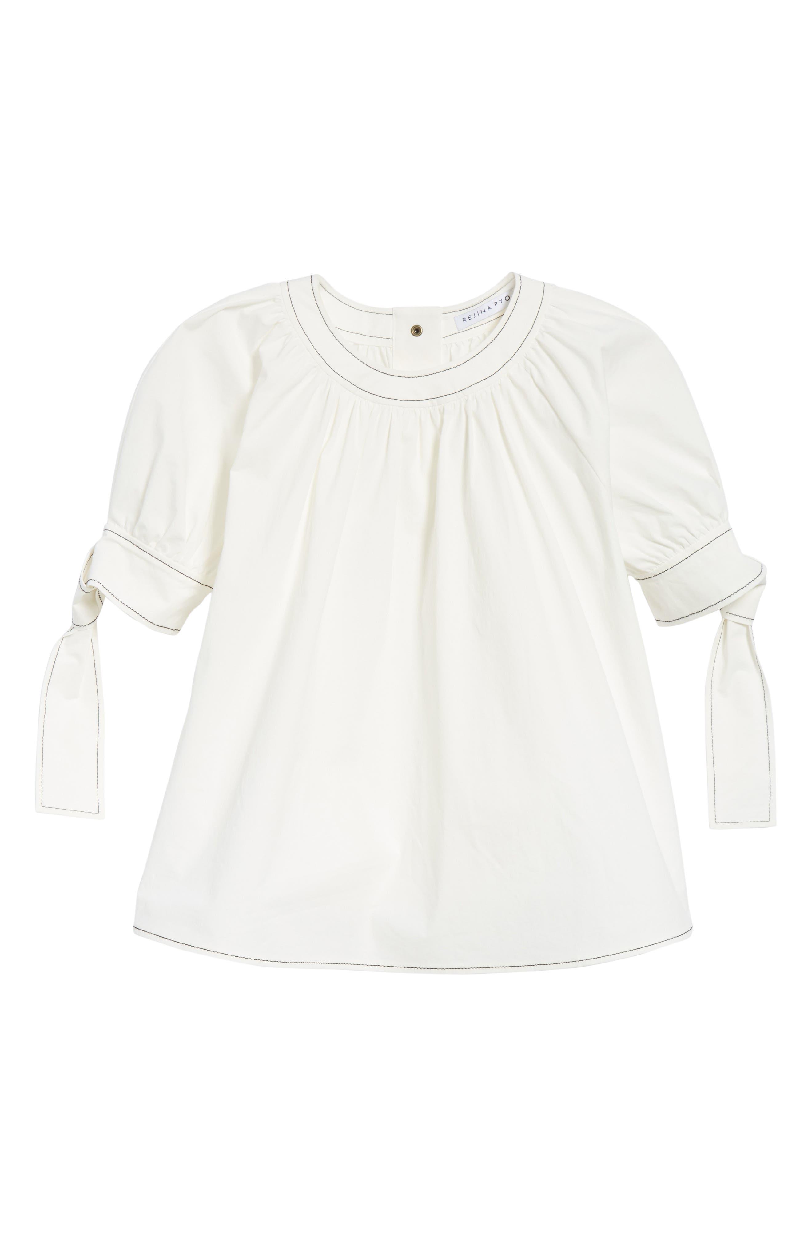 Hailey Short Sleeve Blouse Top,                             Alternate thumbnail 6, color,                             Cotton White