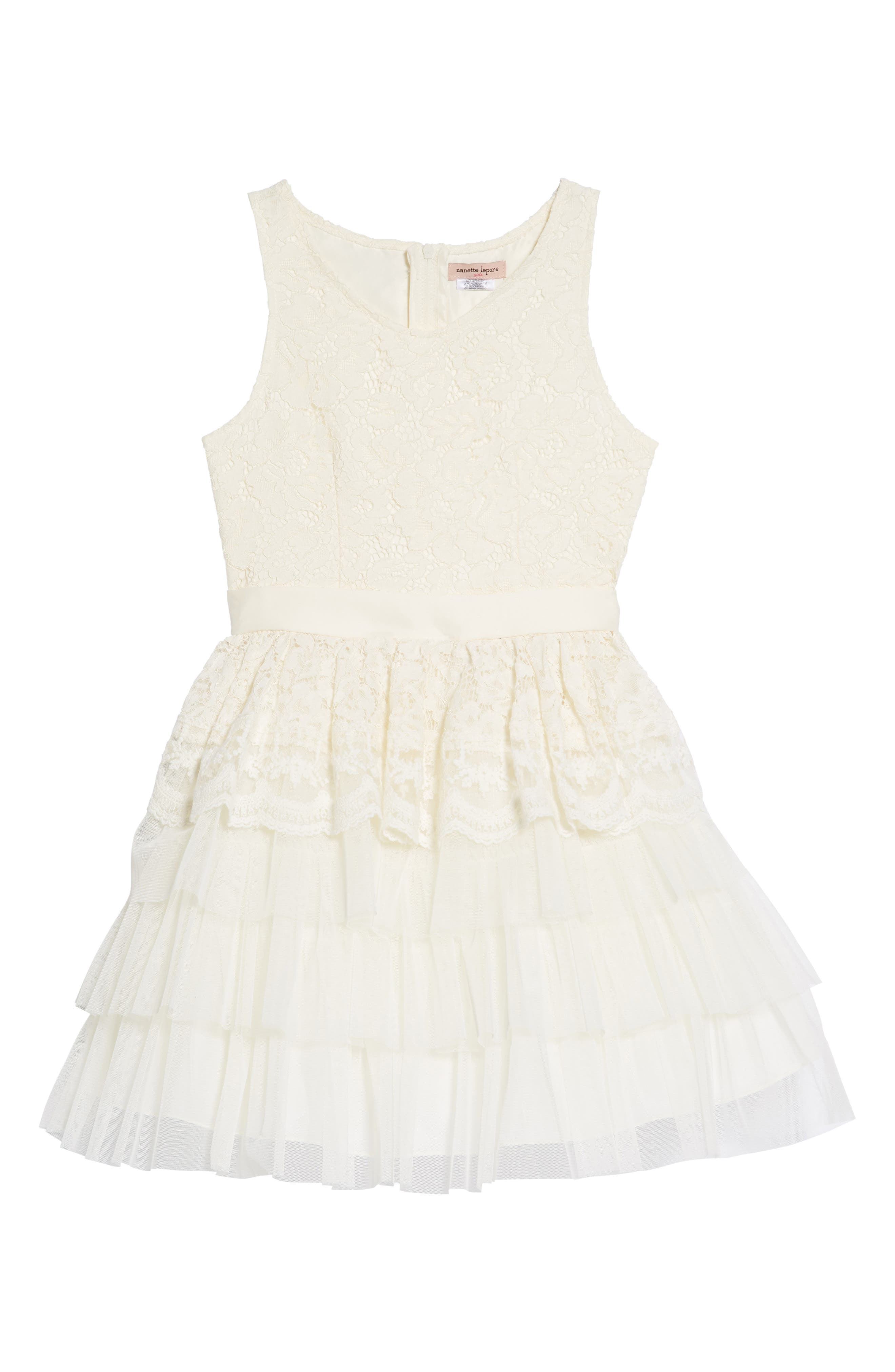 Tiered Lace & Tulle Dress,                         Main,                         color, Cream